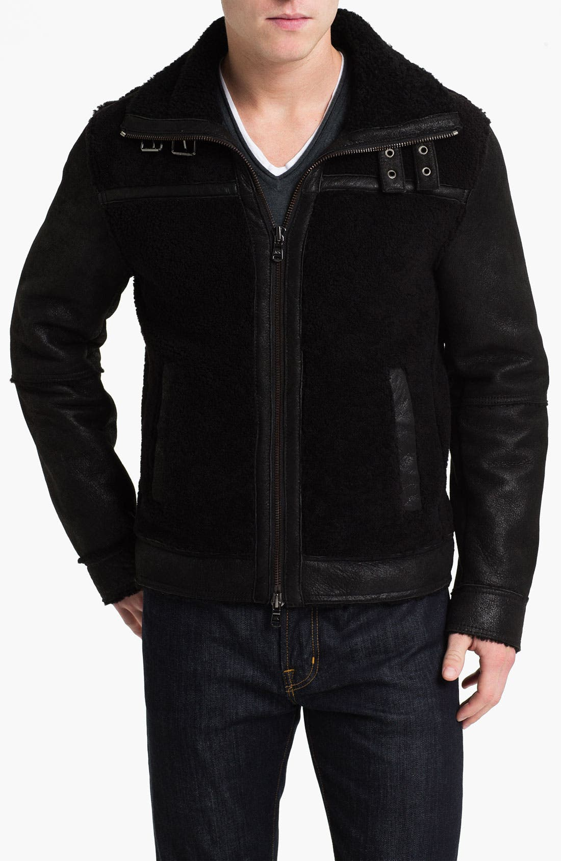 Main Image - Michael Kors Shearling Racer Jacket