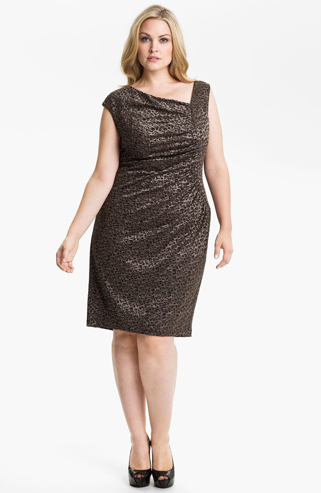 Alternate Image 1 Selected - Adrianna Papell Side Ruched Metallic Sheath Dress (Plus)