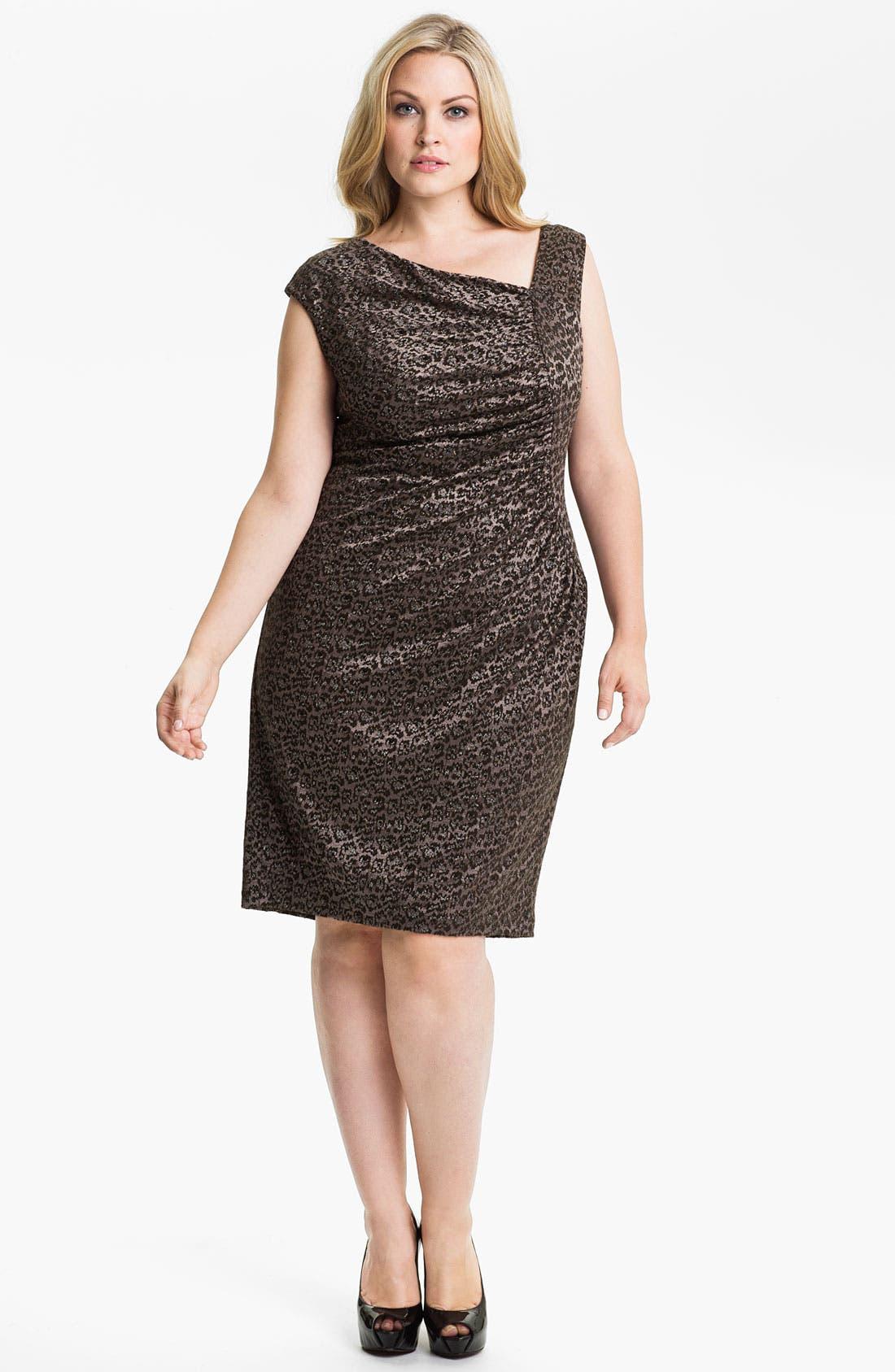 Main Image - Adrianna Papell Side Ruched Metallic Sheath Dress (Plus)