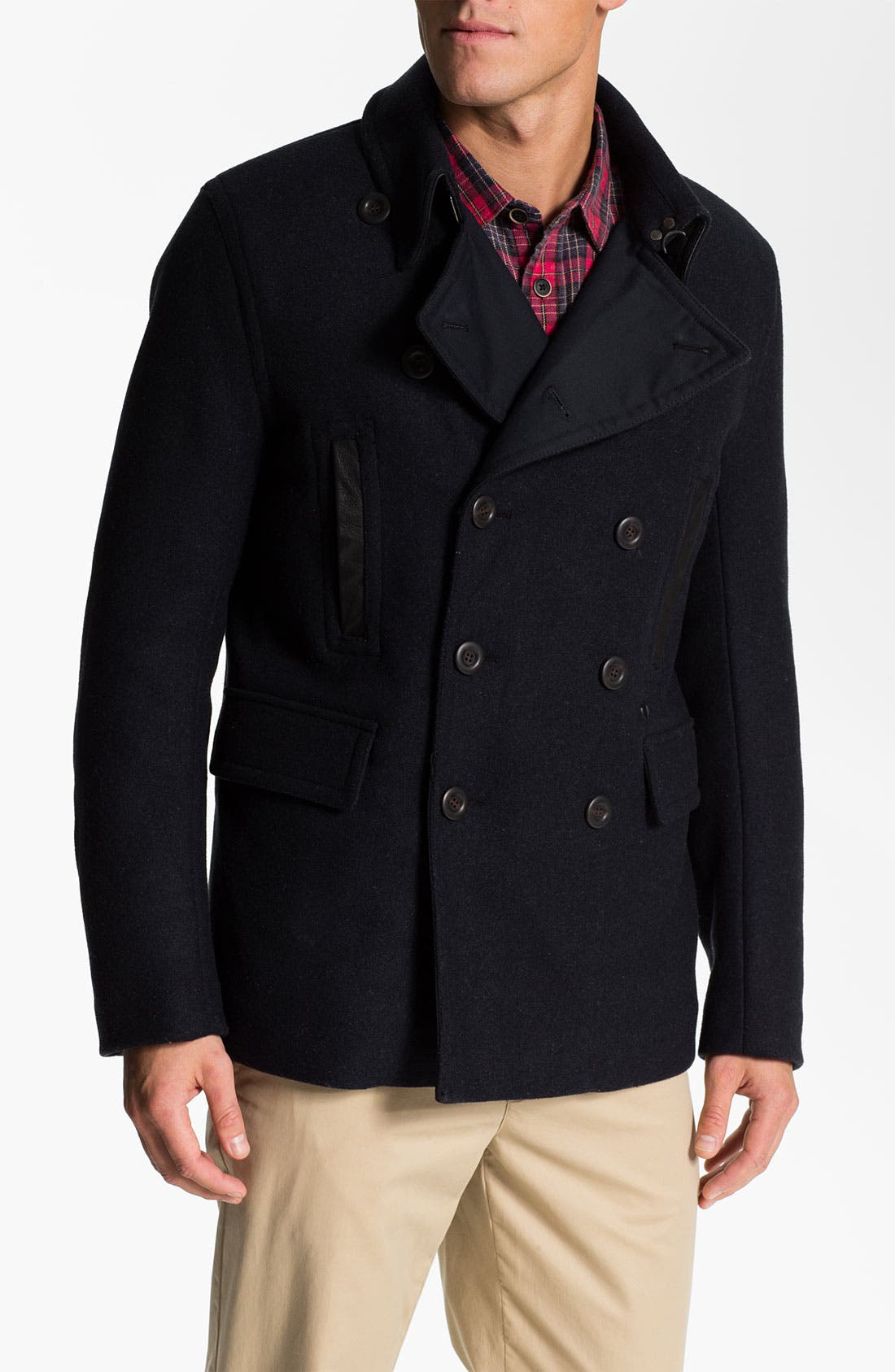 Main Image - PLECTRUM by Ben Sherman Double Breasted Peacoat