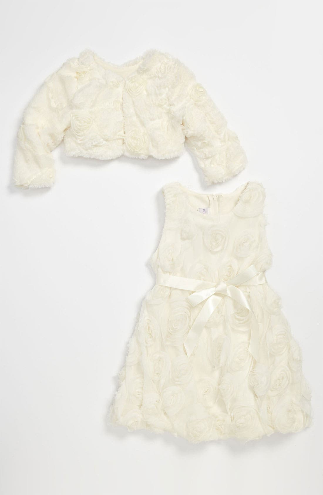 Alternate Image 1 Selected - Iris & Ivy Rosette Dress & Faux Fur Bolero (Toddler)