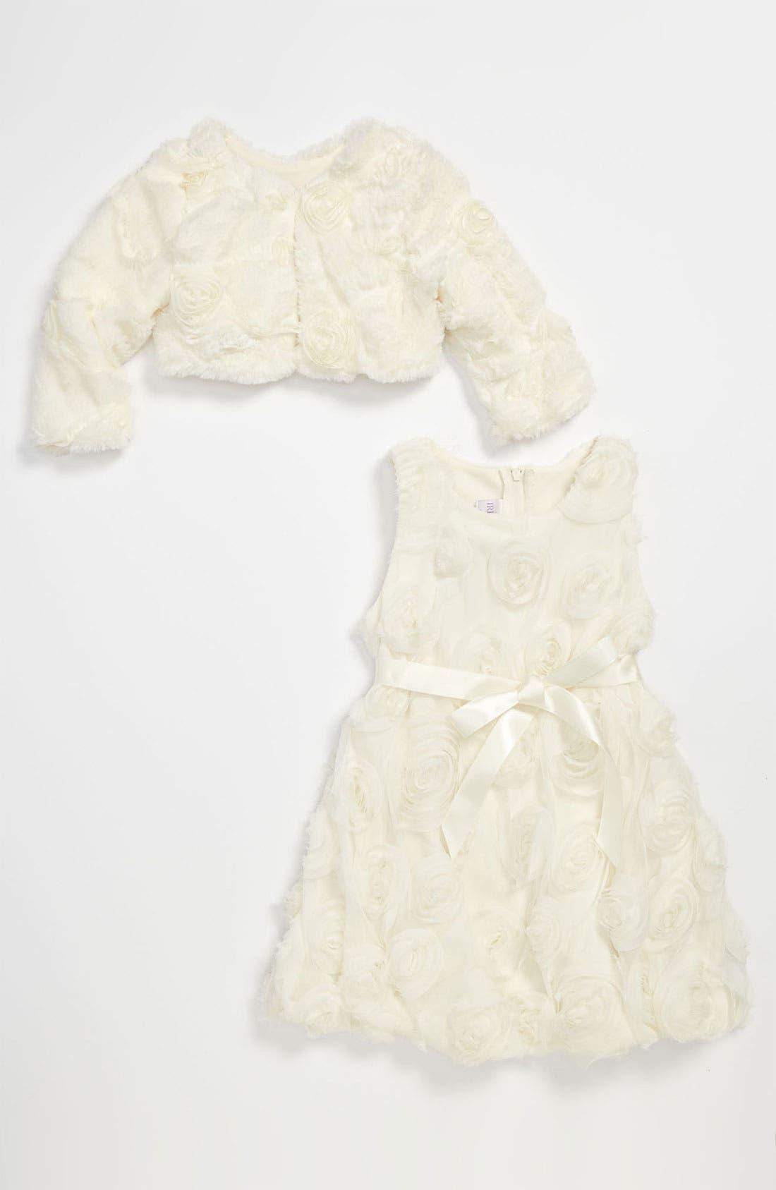 Main Image - Iris & Ivy Rosette Dress & Faux Fur Bolero (Toddler)