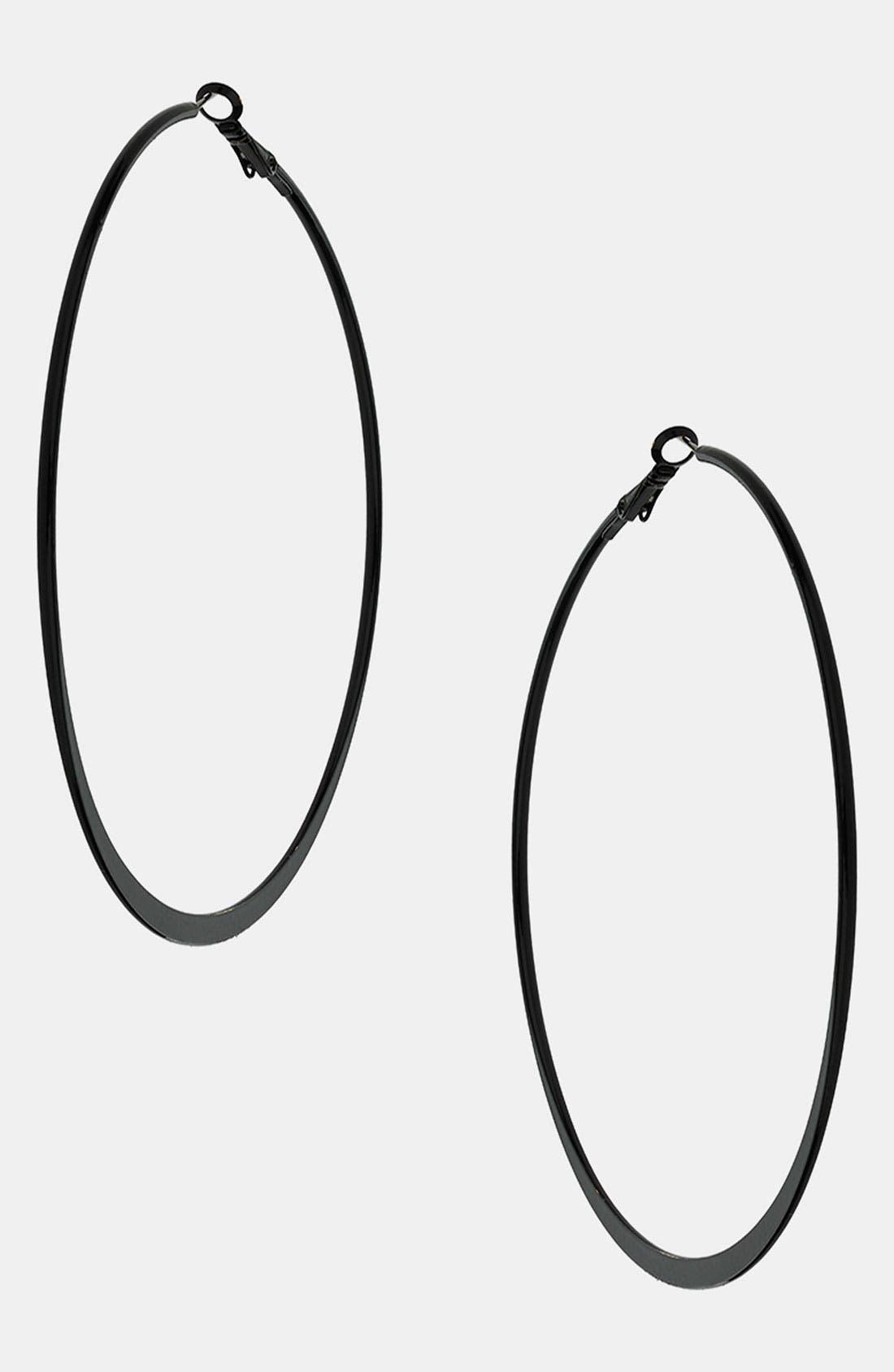 Main Image - Topshop Black Hoop Earrings