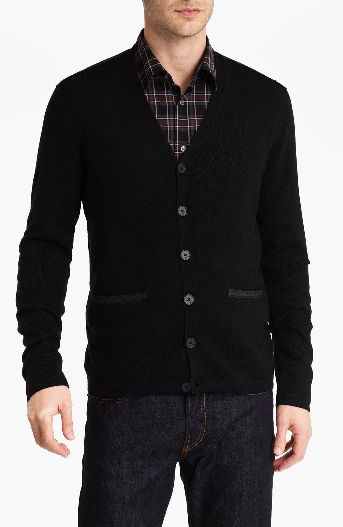 Main Image - John Varvatos Star USA Leather Trim Cardigan