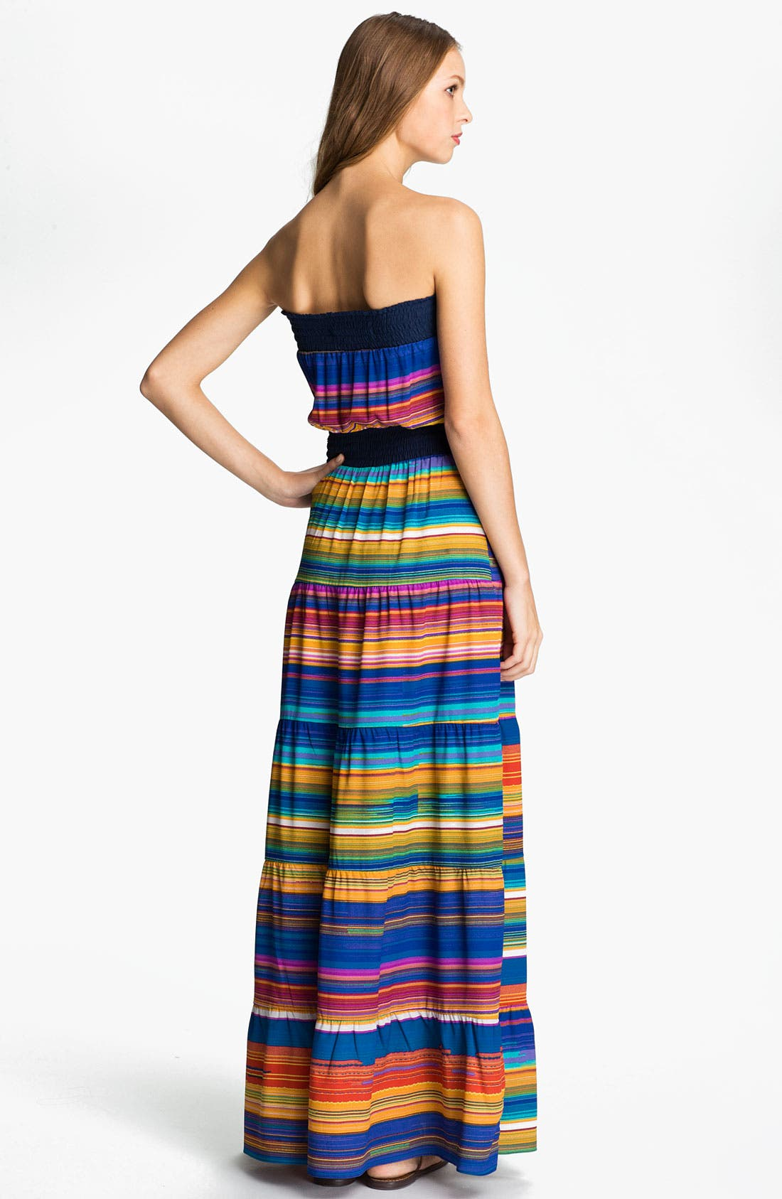 Alternate Image 2  - Tbags Los Angeles Multi Stripe Smocked Prairie Maxi Dress