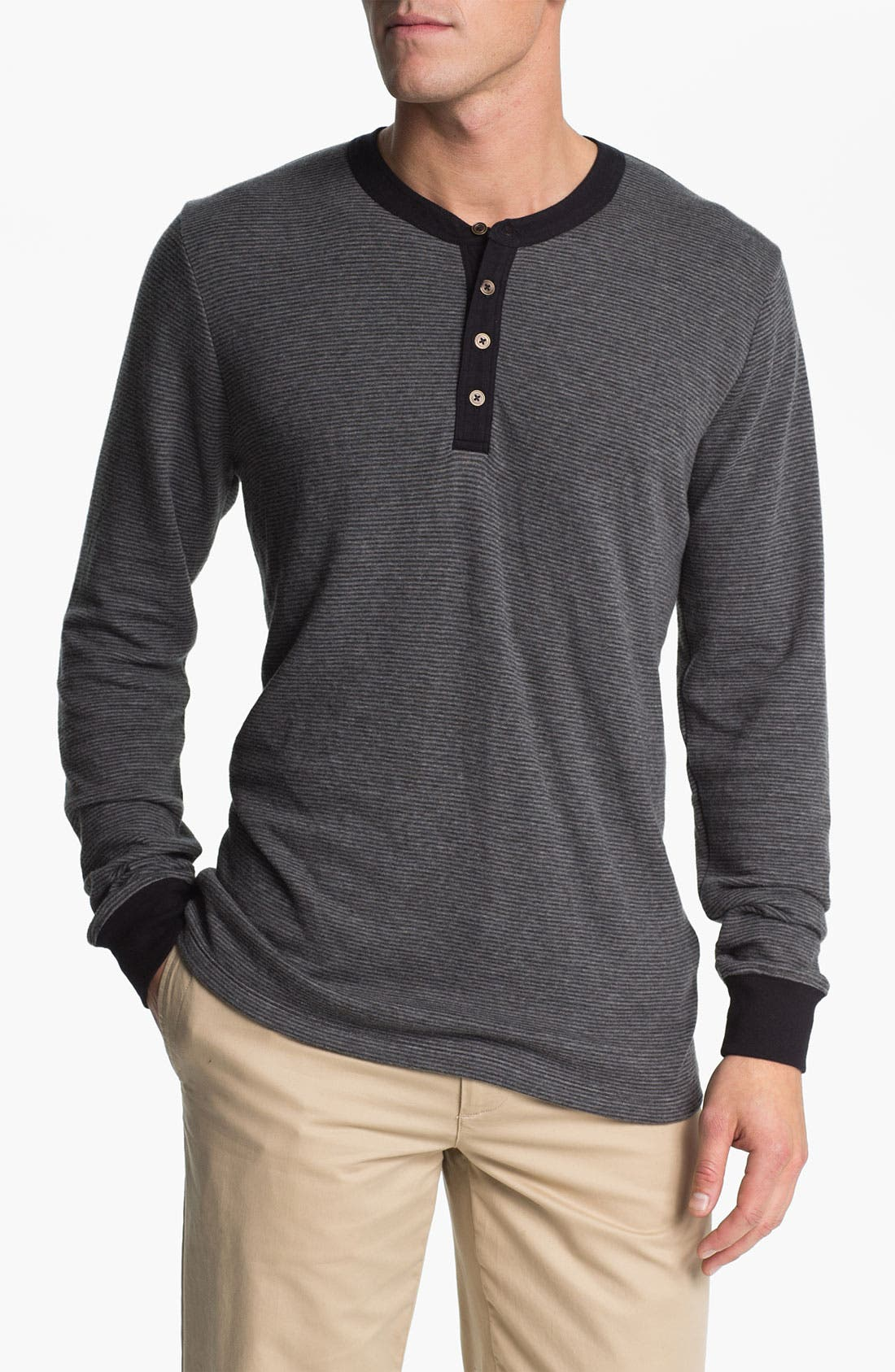 Main Image - Obey Microstripe Slim Fit Henley T-Shirt