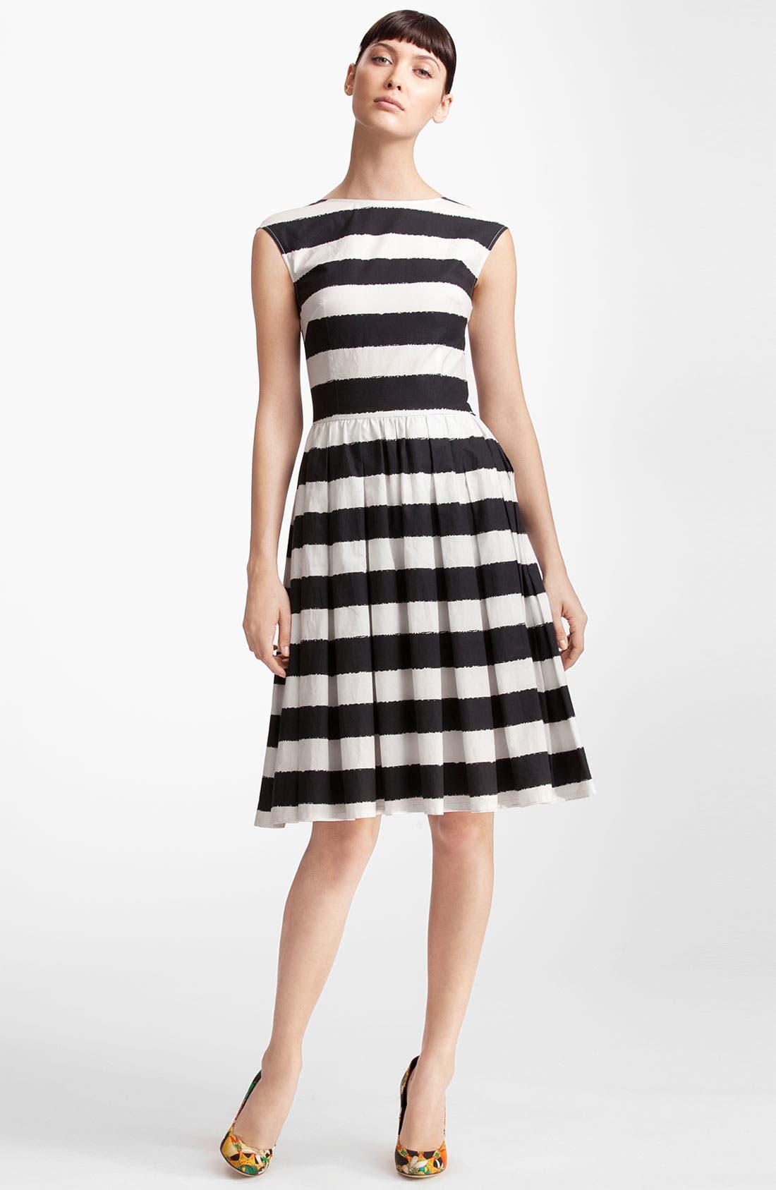Main Image - Dolce&Gabbana Stripe Full Skirt Poplin Dress