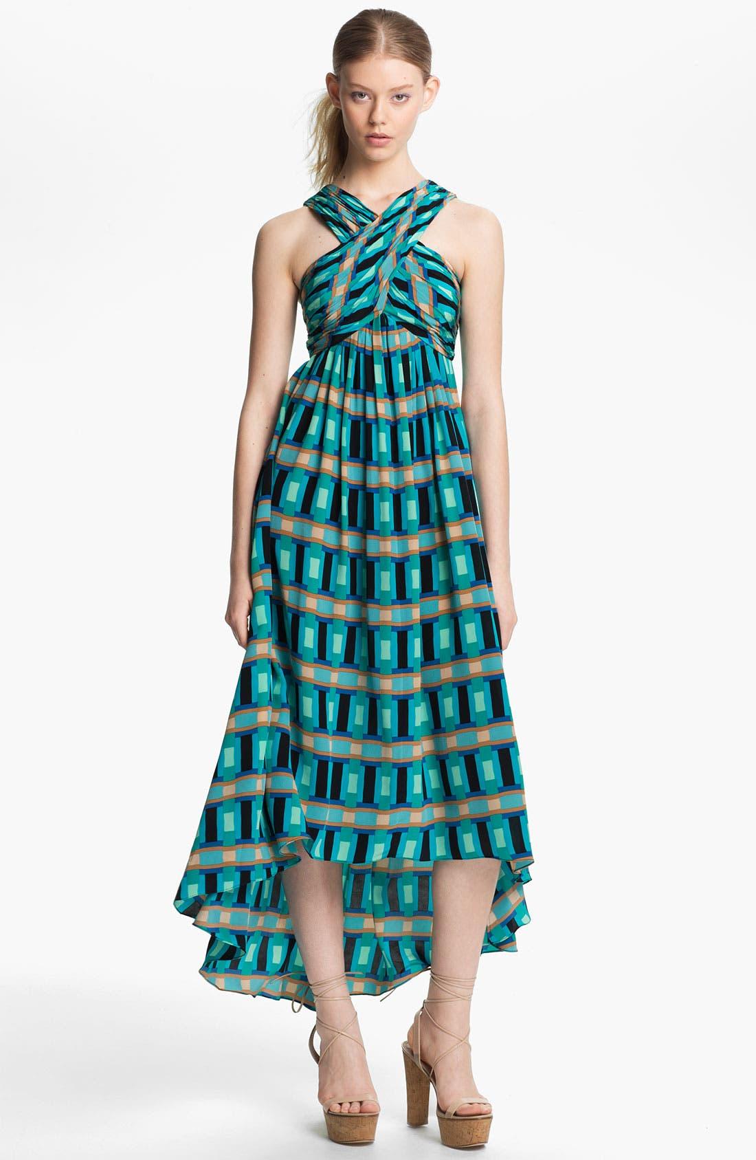 Main Image - Tracy Reese 'Bright Blocks' Silk Halter Dress