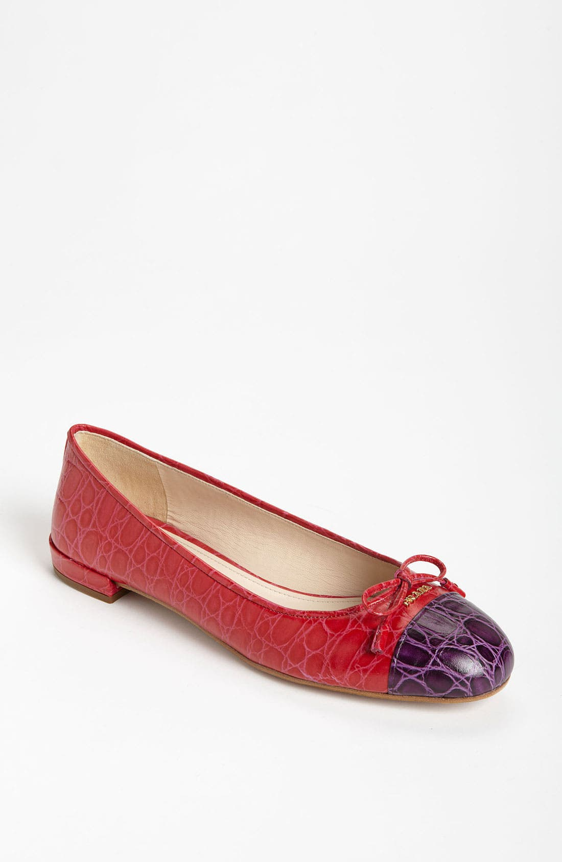 Main Image - Prada Croco Cap Toe Ballet Flat