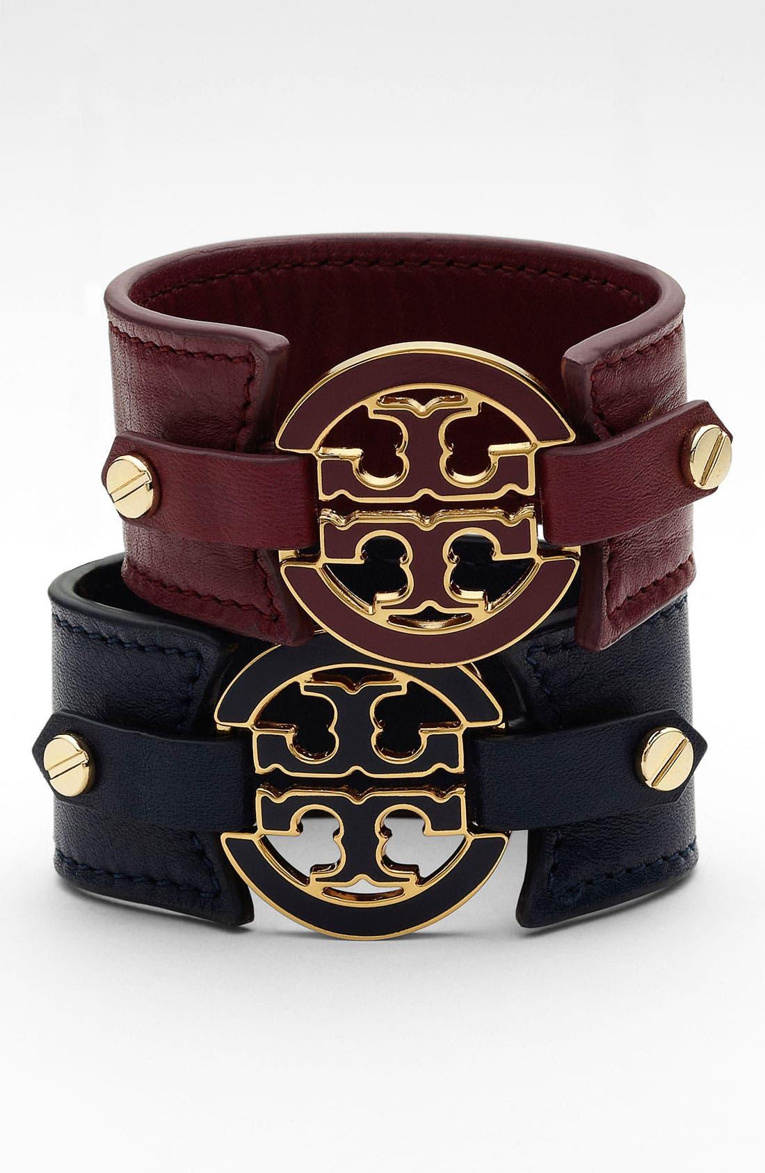 Alternate Image 1 Selected - Tory Burch Logo Leather Bracelet