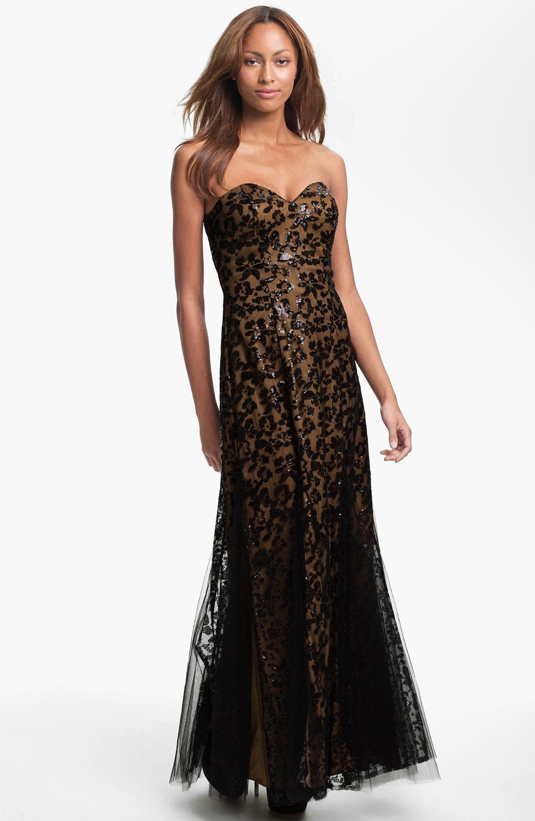 Main Image - Sean Collection Strapless Sequin Mesh Overlay Gown