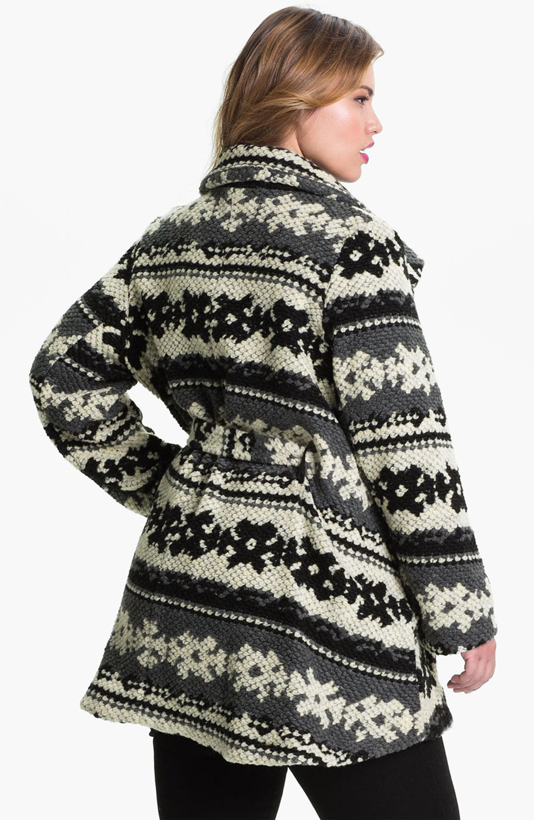 Alternate Image 2  - Evans Pattern Knit Coat (Plus Size)