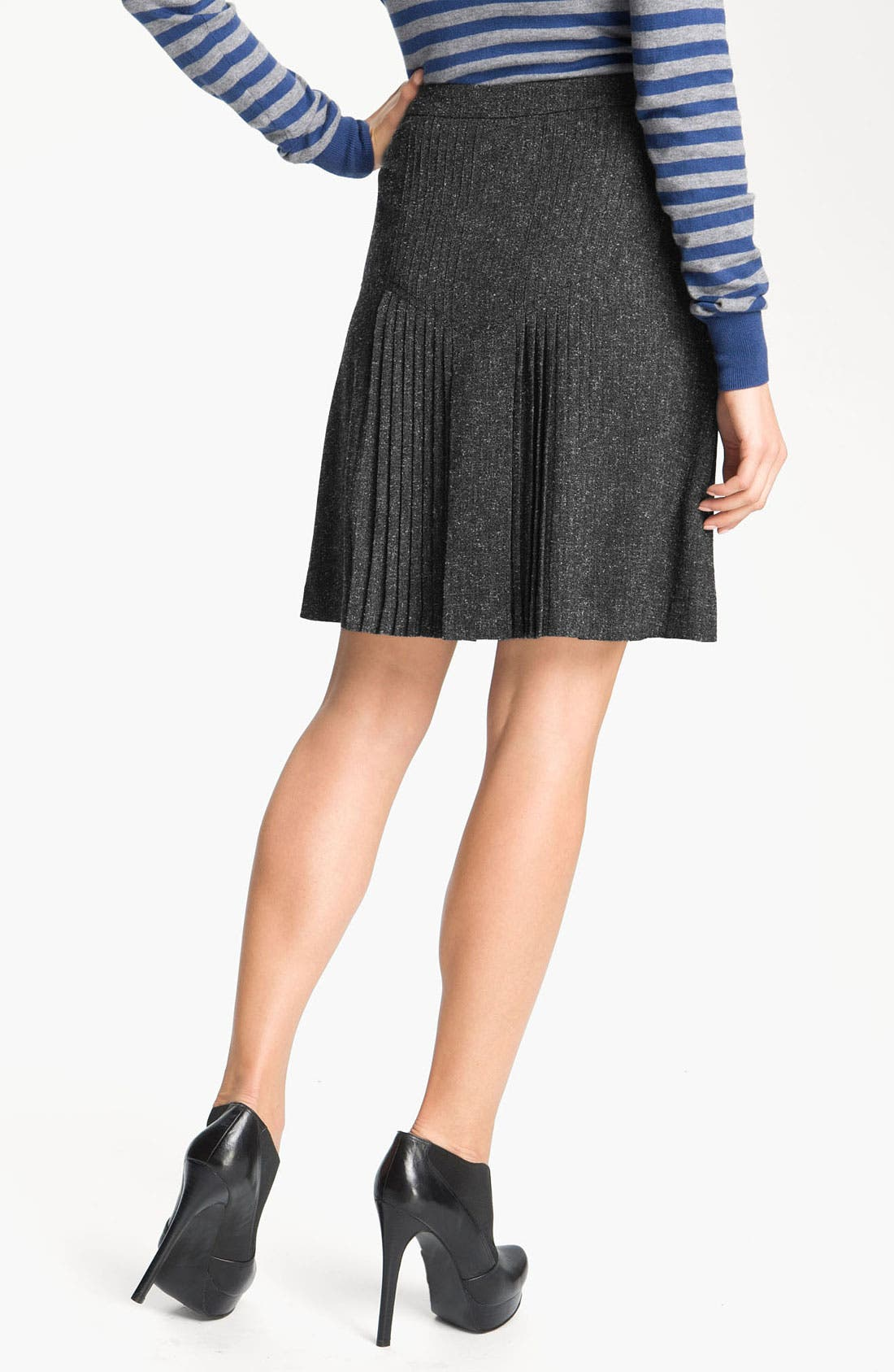 Alternate Image 2  - Halogen® Pleat Front Tweed Skirt