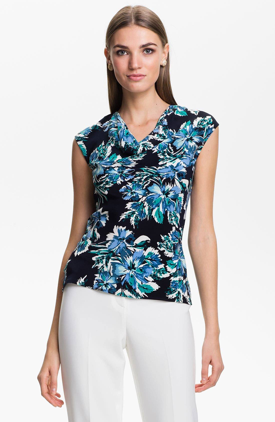 Alternate Image 1 Selected - St. John Collection Hibiscus Print Top