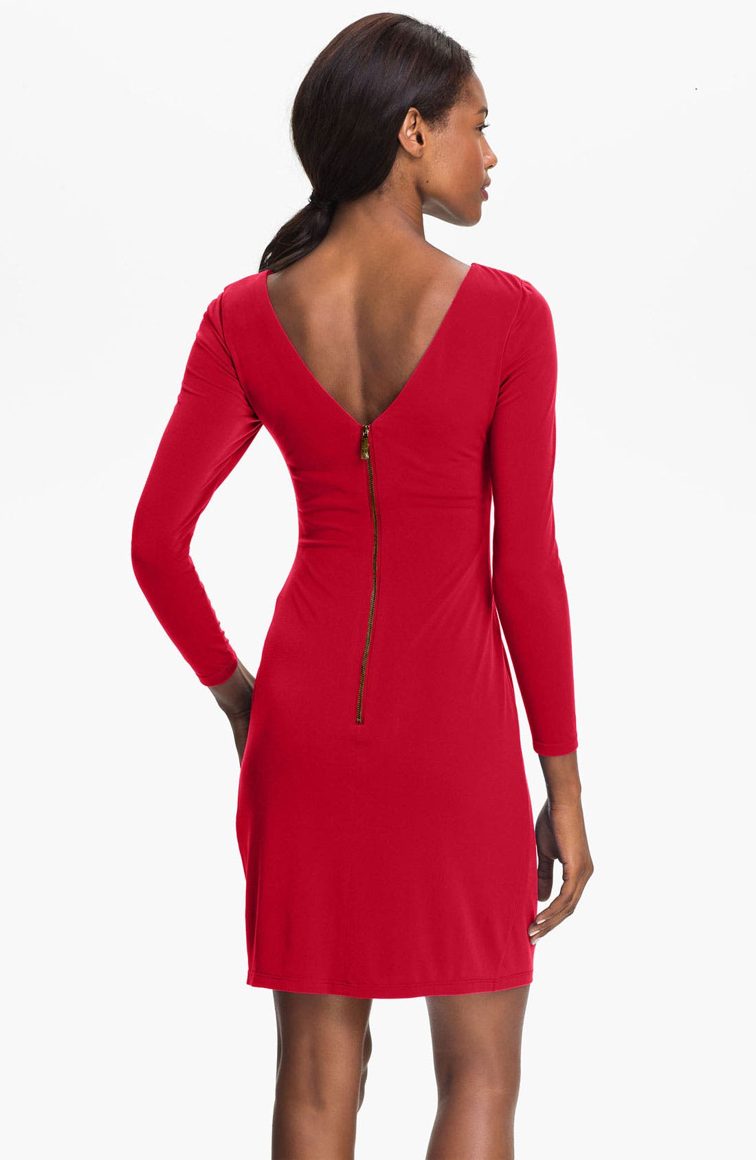 Alternate Image 2  - Vince Camuto Pleat Front Jersey Sheath Dress