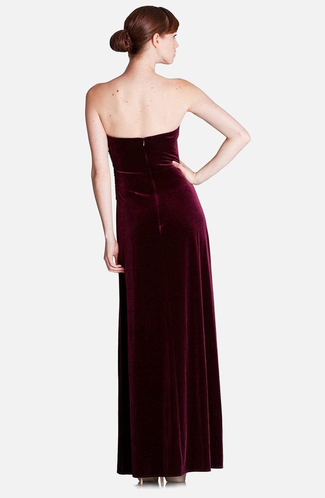 Alternate Image 2  - JS Boutique Strapless Side Accent Velvet Gown