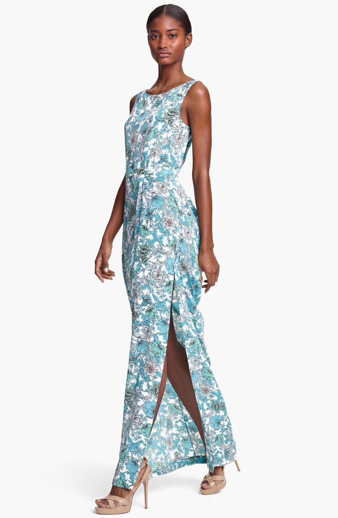 Alternate Image 1 Selected - Thakoon Floral Print Draped Crêpe de Chine Gown