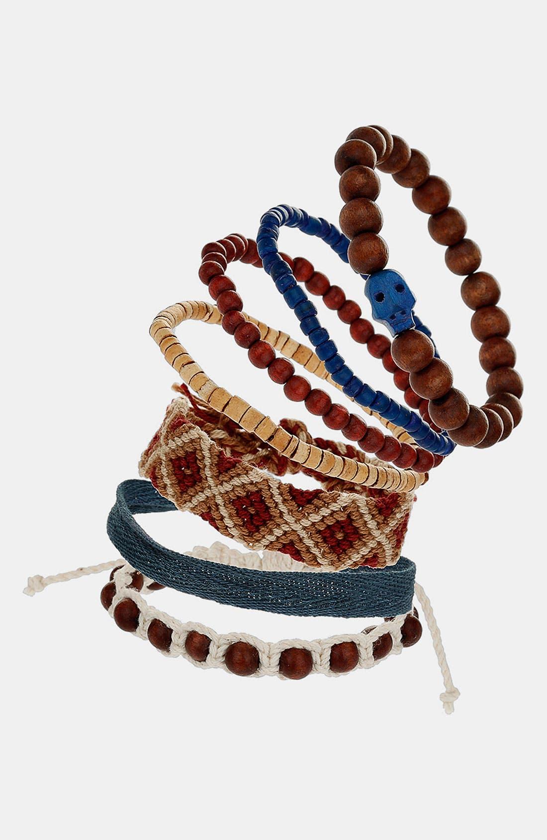 Main Image - Topman 'Trellick' Mixed Bracelets (Set of 7)