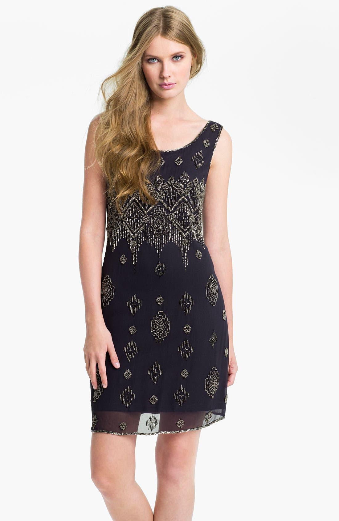 Main Image - Adrianna Papell Beaded Silk Chiffon Overlay Dress