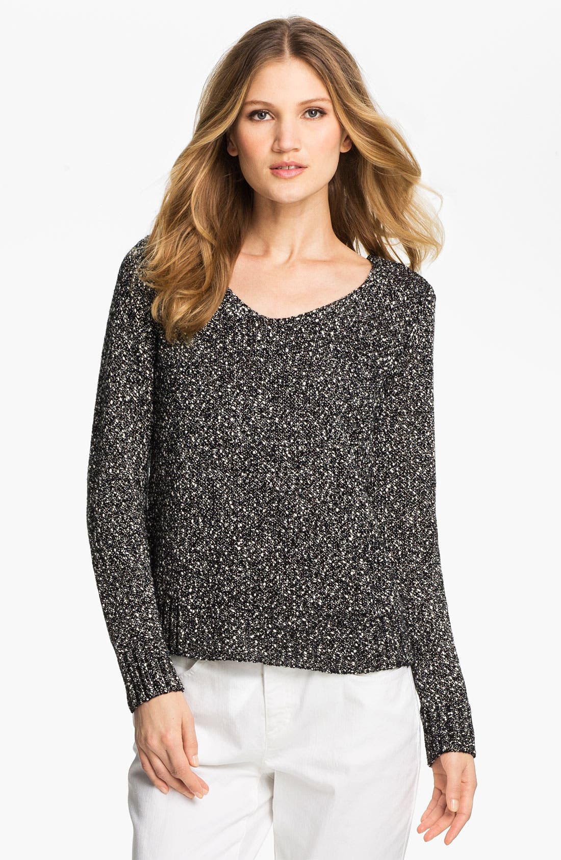 Alternate Image 1 Selected - Eileen Fisher V-Neck Nubby Knit Sweater