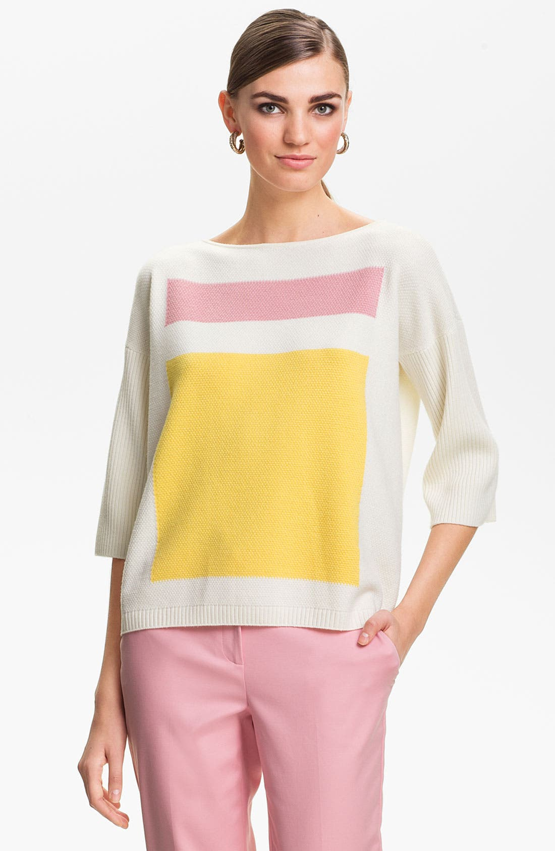 Main Image - St. John Yellow Label Colorblock Popcorn Knit Sweater