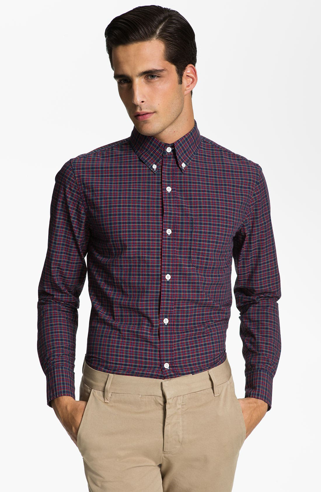 Main Image - Band of Outsiders Plaid Sport Shirt