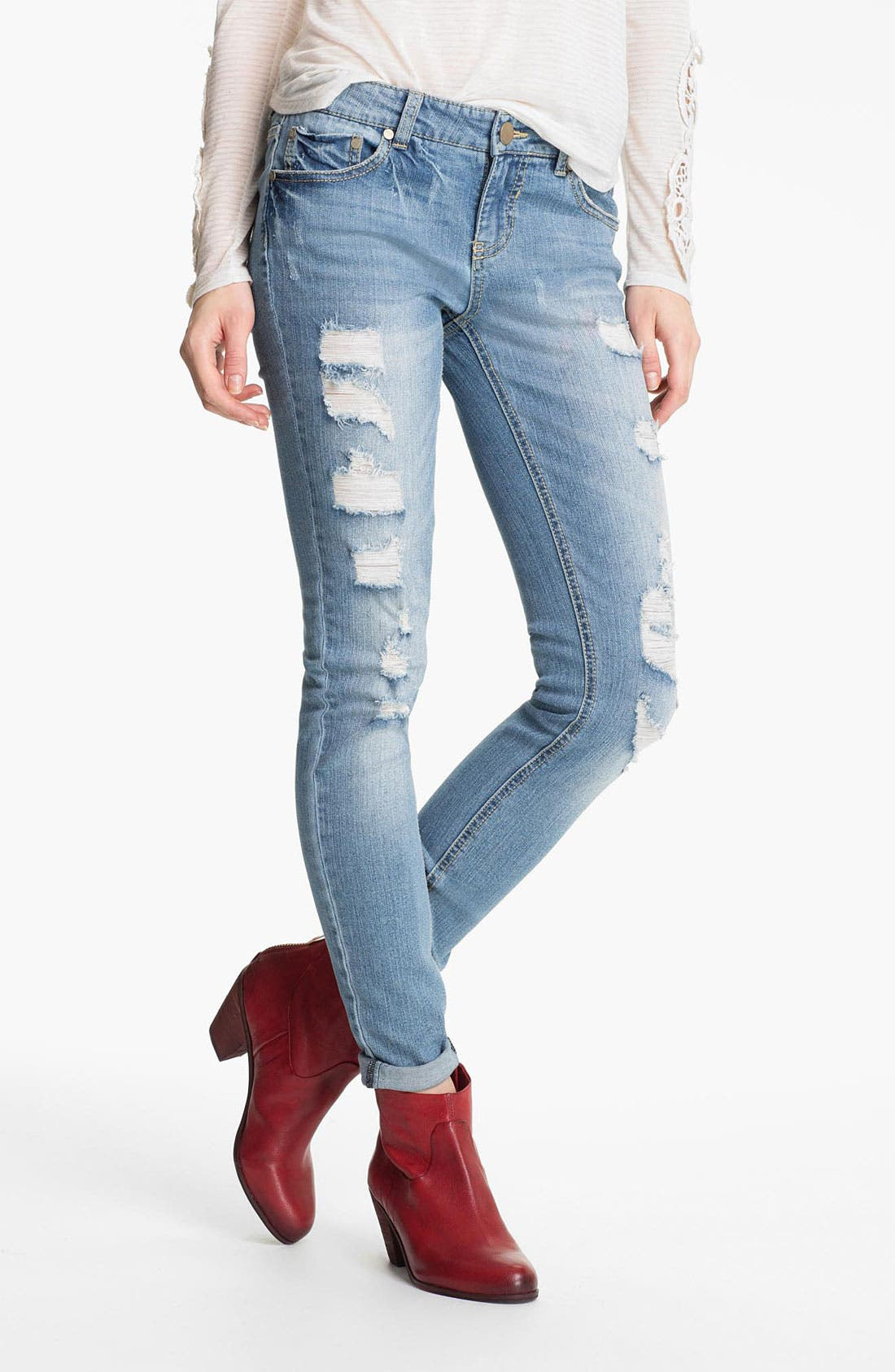 Alternate Image 1 Selected - Fire Destroyed Skinny Jeans (Juniors)