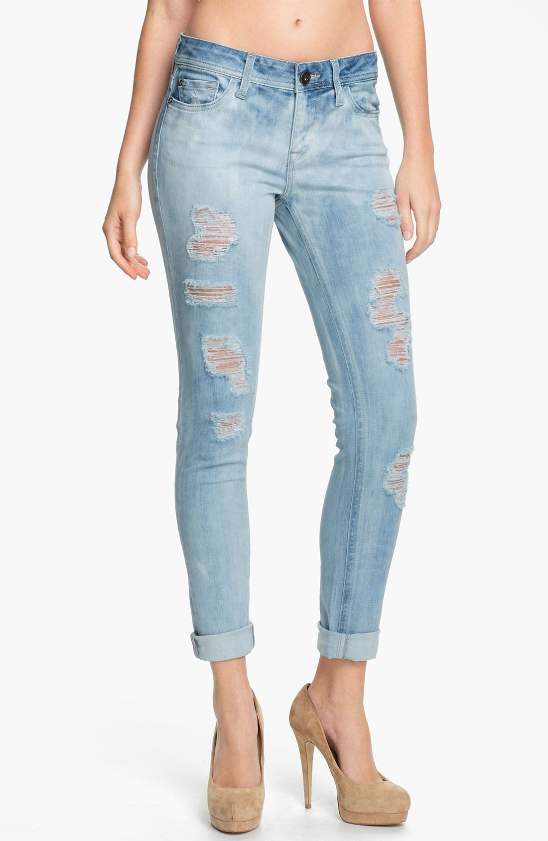 Main Image - DL1961 'Amanda'  X-Fit Stretch Destroyed Denim Skinny Jeans (Frenzy)