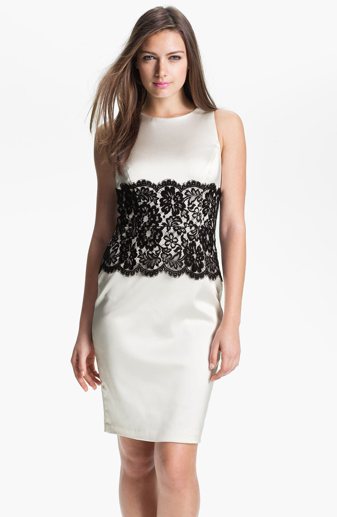 Main Image - Xscape Lace Panel Satin Sheath Dress