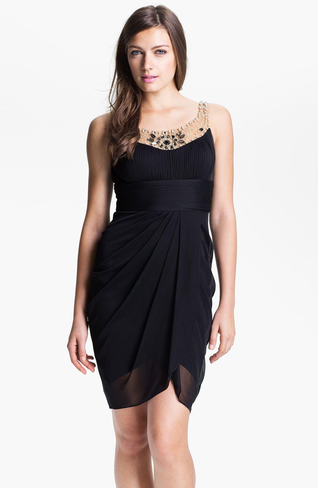 Main Image - Adrianna Papell Jeweled Yoke Cocktail Dress