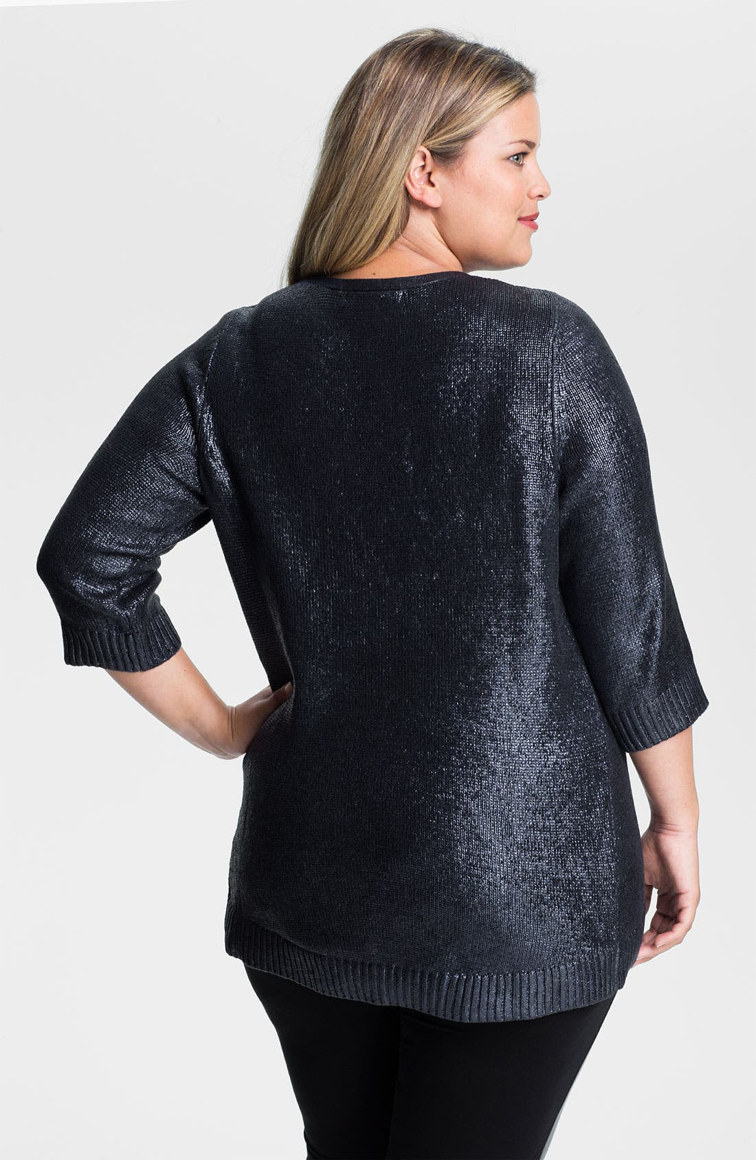 Alternate Image 2  - Sejour Foil Finish Sweater (Plus)