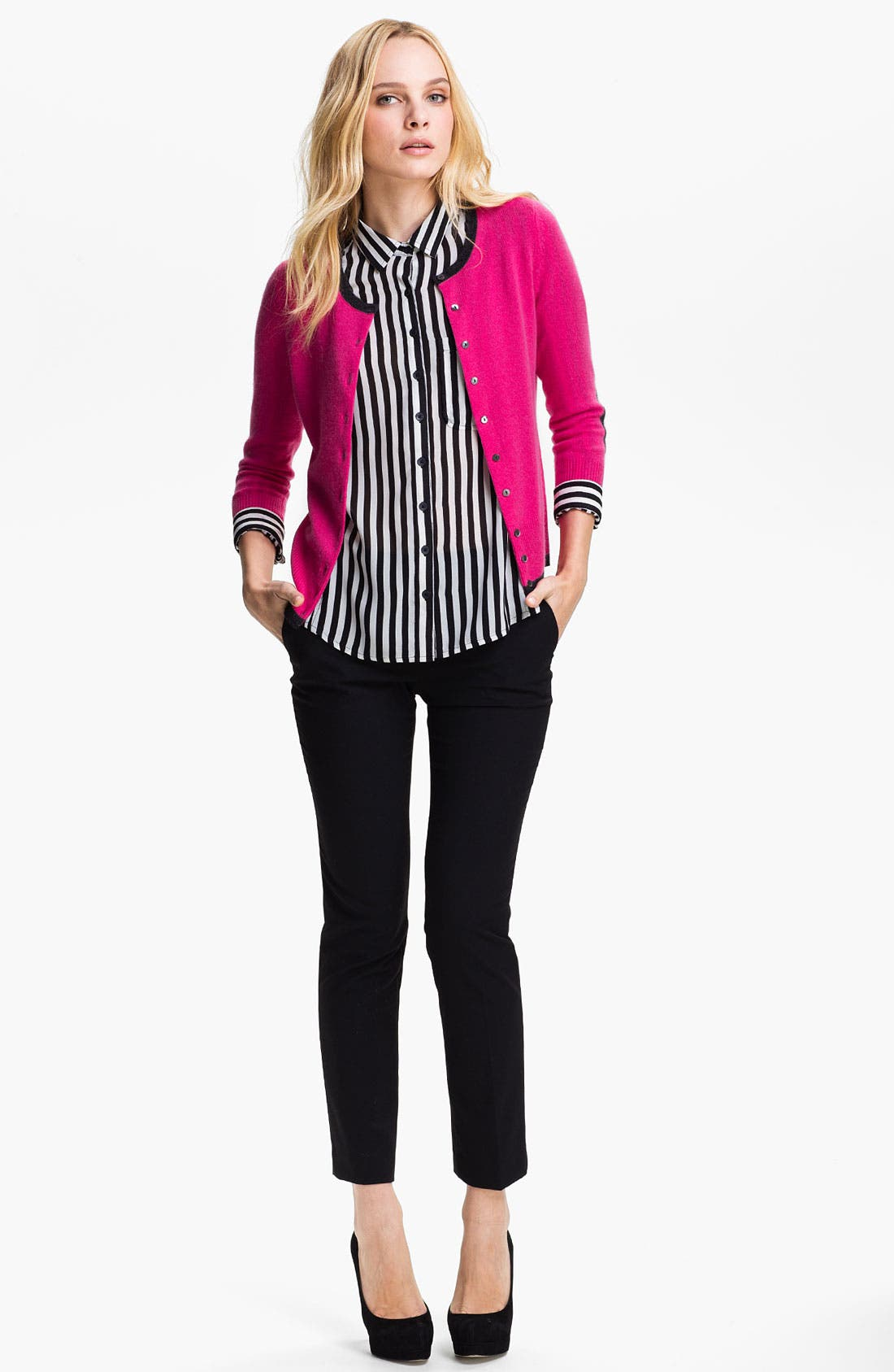 Alternate Image 2  - Only Mine Elbow Patch Cashmere Cardigan (Petite)