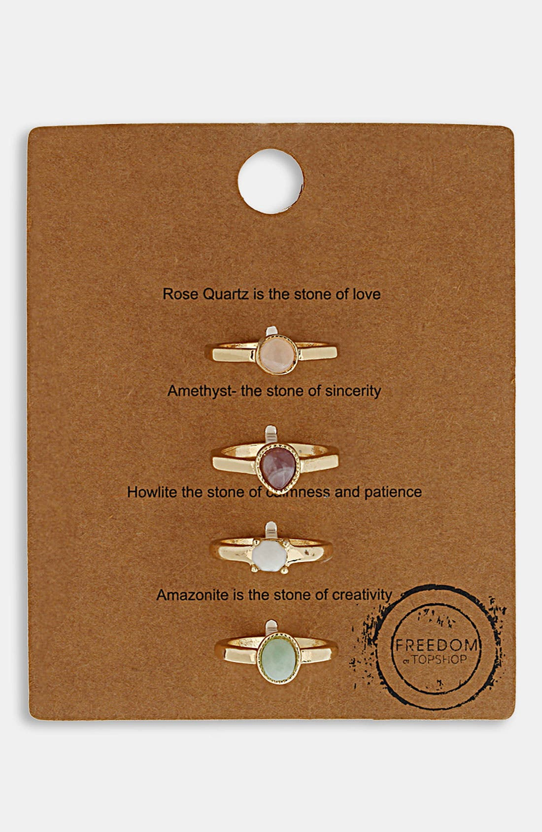 Alternate Image 1 Selected - Topshop 'Message' Rings (Set of 4)