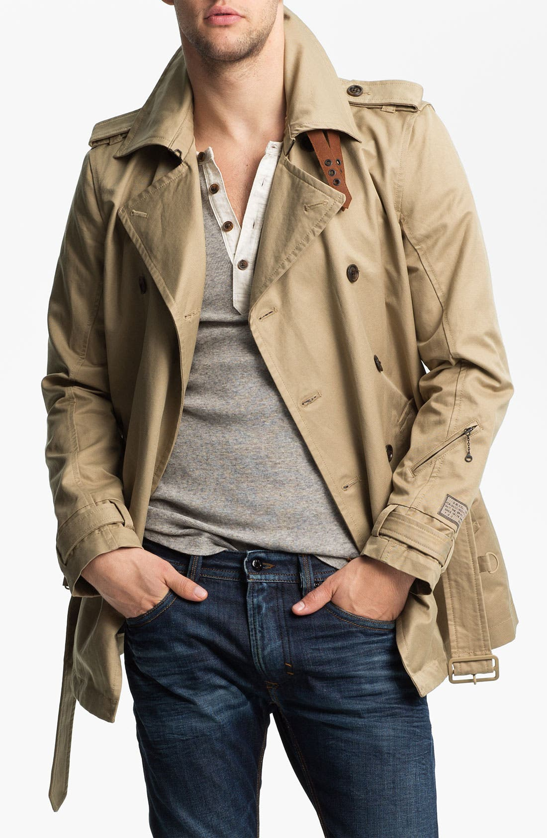Alternate Image 1 Selected - DIESEL® 'Javelins' Double Breasted Trench Coat