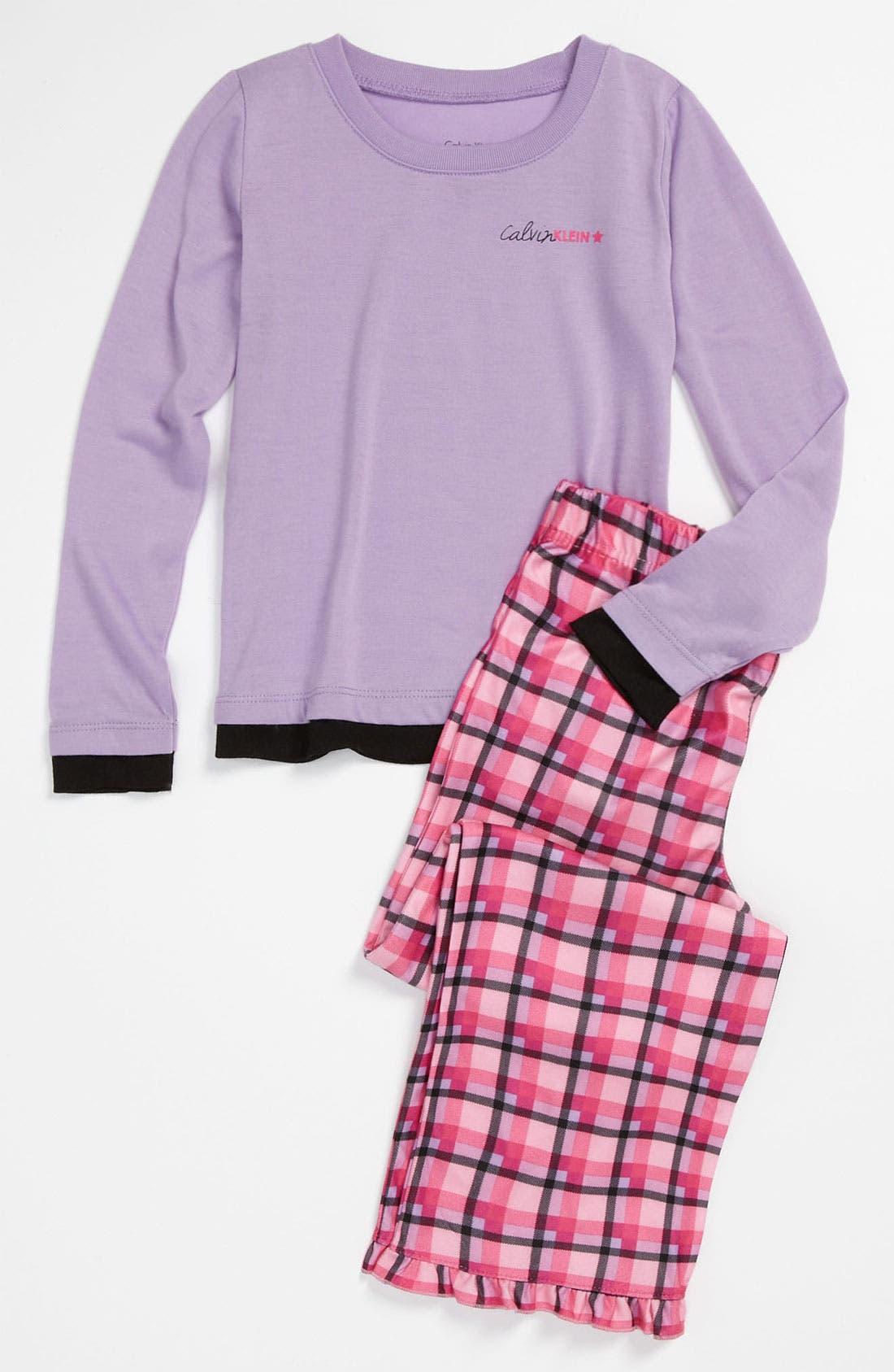 Alternate Image 1 Selected - Calvin Klein Knit Top & Plush Pants (Little Girls & Big Girls)
