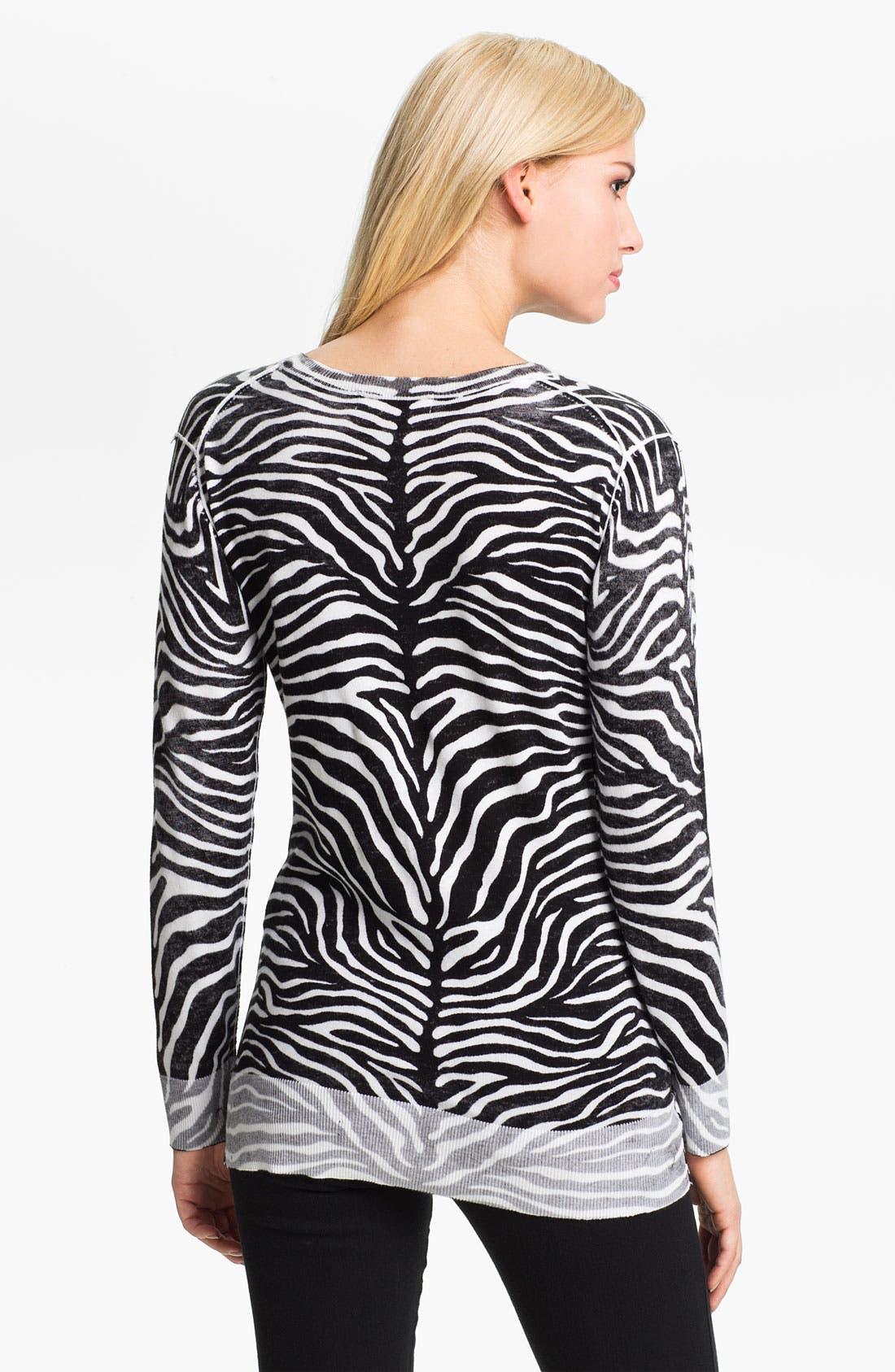 Alternate Image 2  - MICHAEL Michael Kors Zebra Print V-Neck Sweater