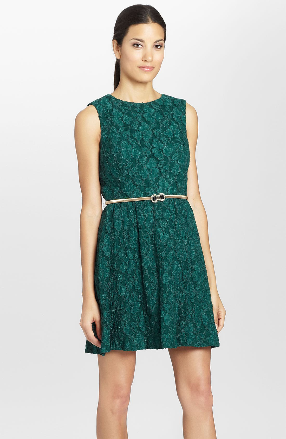 Alternate Image 1 Selected - Cynthia Steffe 'Davine' Sleeveless Belted Lace Dress