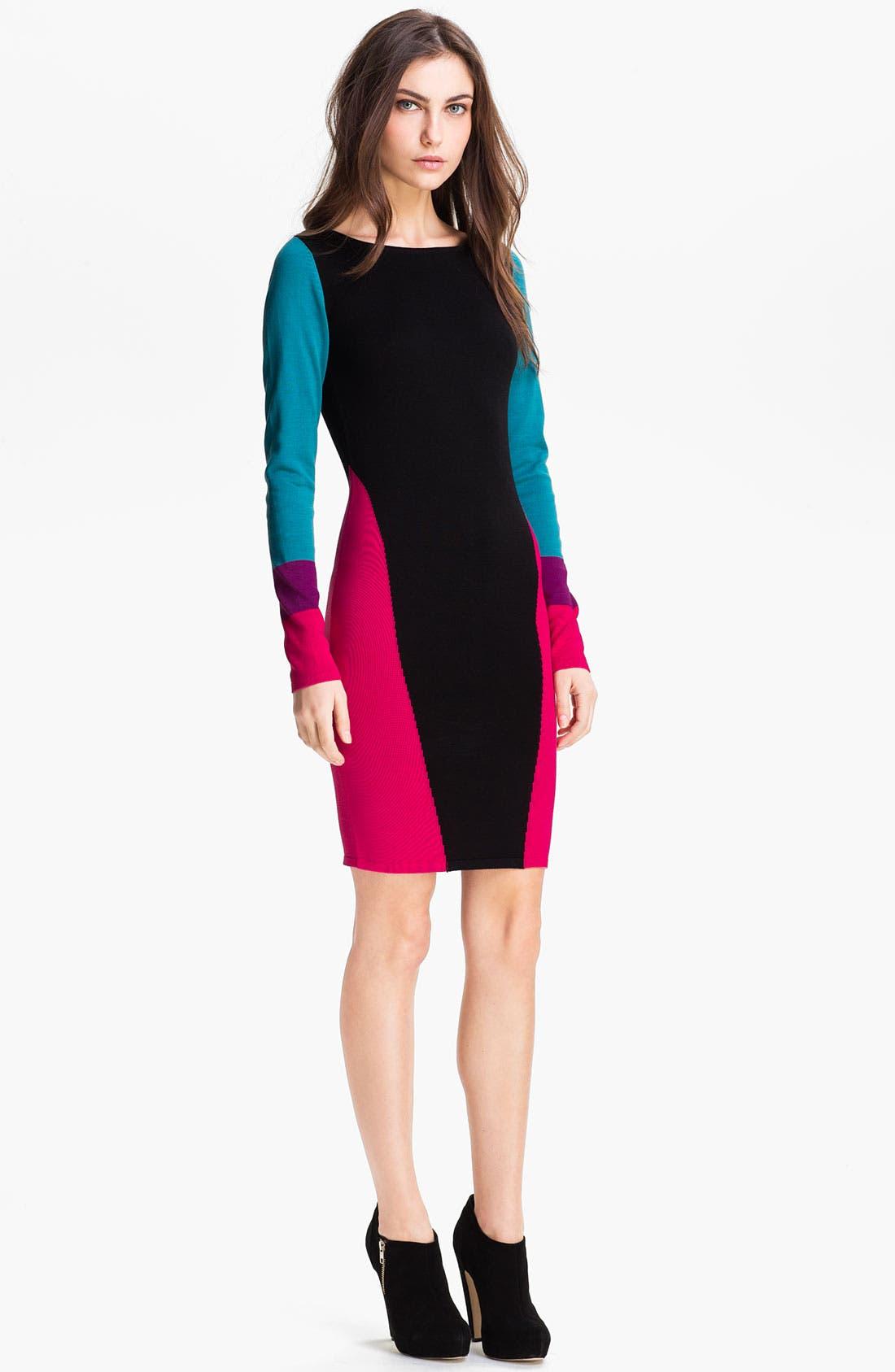 Alternate Image 1 Selected - BCBGMAXAZRIA 'Korin' Silk Blend Sweater Dress