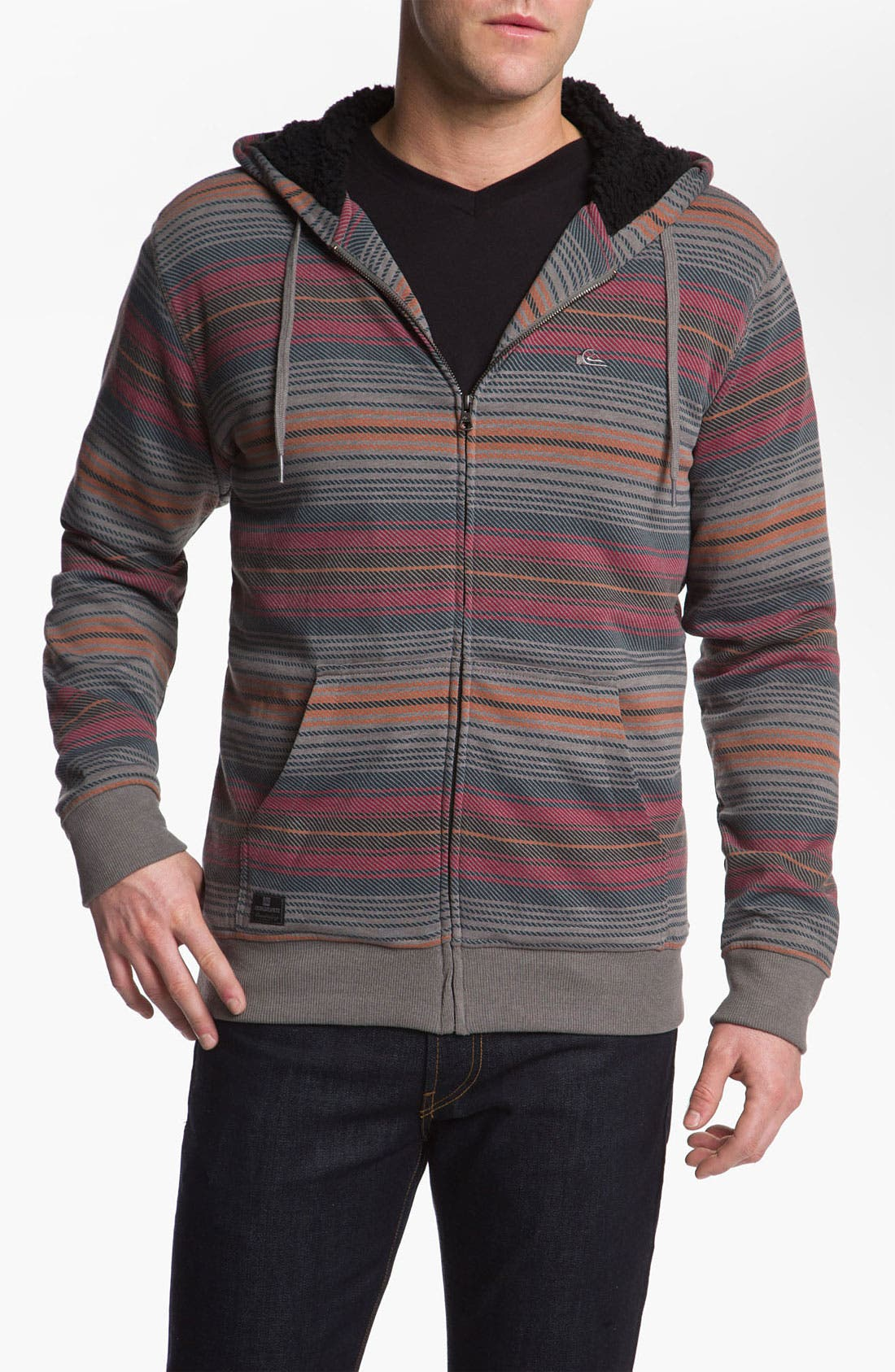 Alternate Image 1 Selected - Quiksilver Zip Hoodie with Faux Shearling Lining