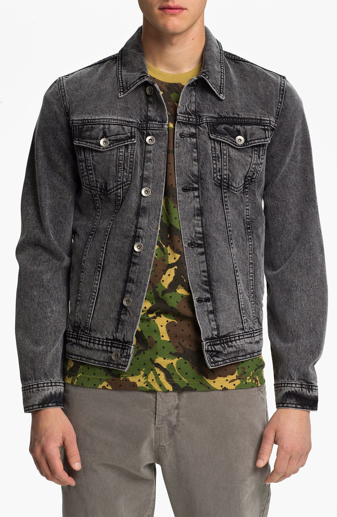 Main Image - Topman Washed Denim Jacket