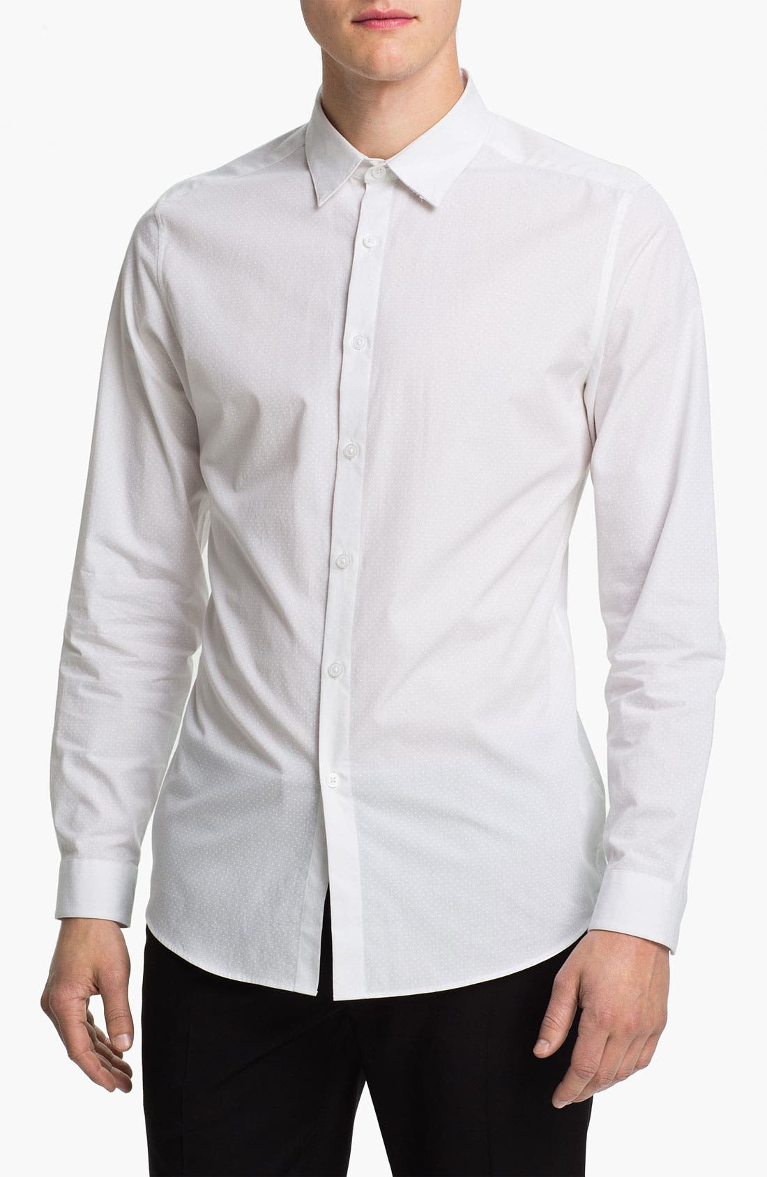 Main Image - Topman Slim Fit Tonal Pin Dot Dress Shirt