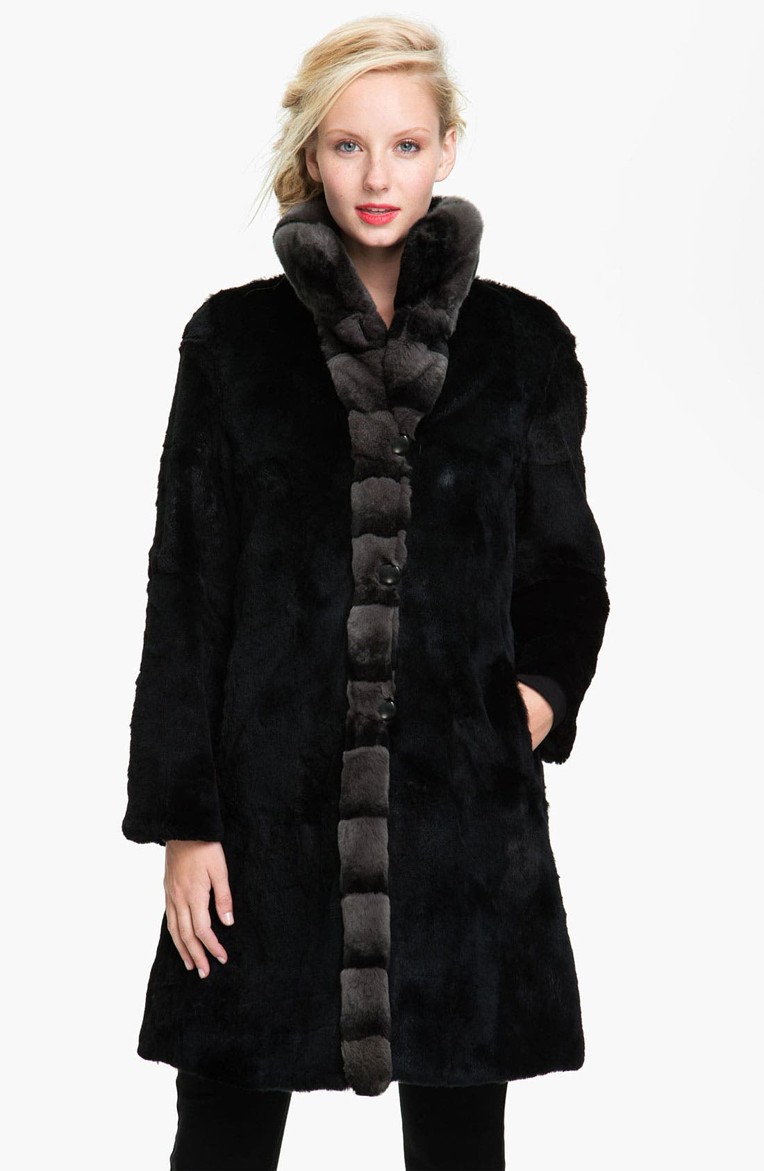Alternate Image 2  - Blue Duck Genuine Rabbit Fur Reversible Storm Coat