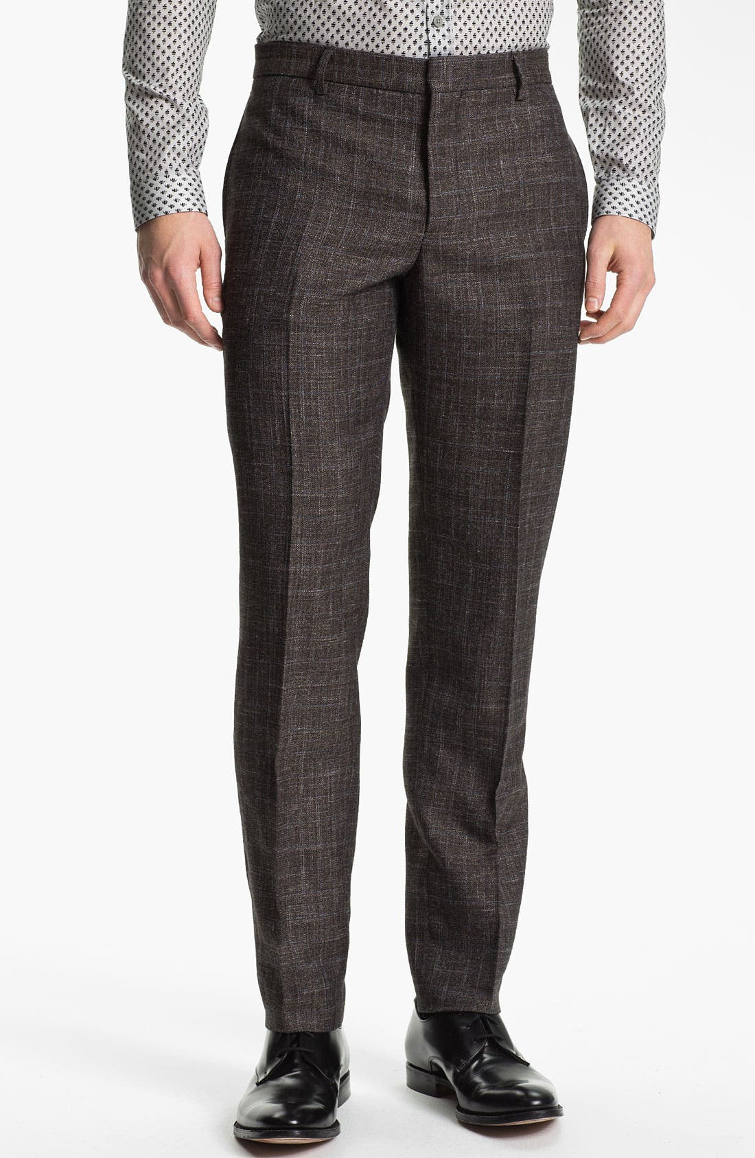 Main Image - Burberry Prorsum Slim Fit Plaid Twill Trousers