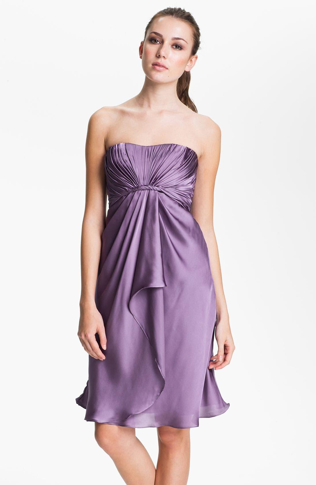 Main Image - ML Monique Lhuillier Bridesmaids Strapless Drape Detail Charmeuse Dress (Nordstrom Exclusive)