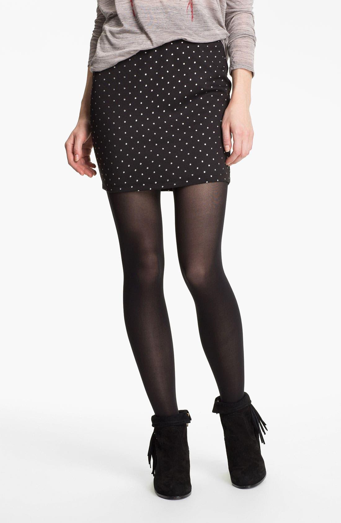 Main Image - Lily White Studded Body-Con Miniskirt (Juniors)