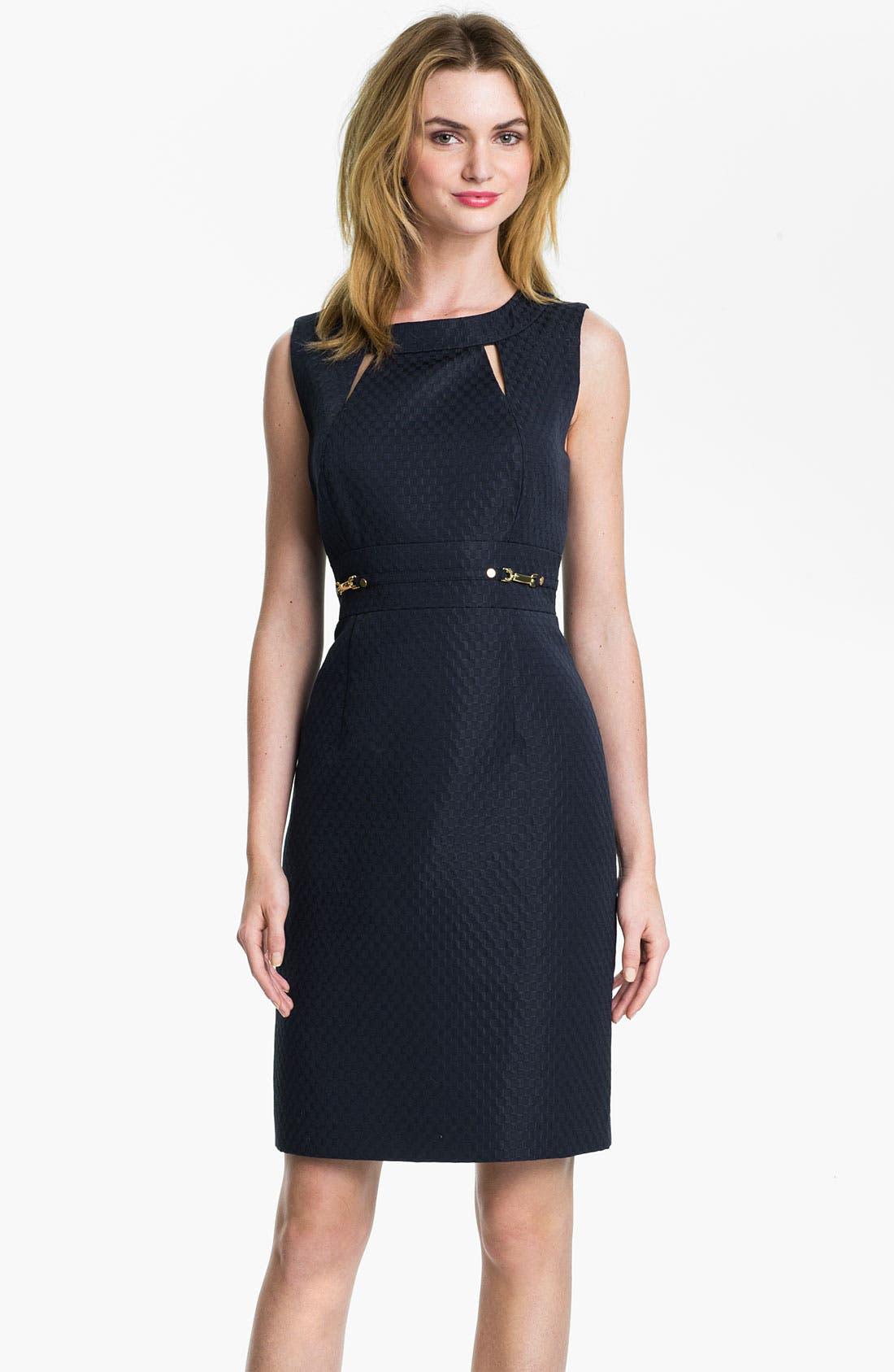 Main Image - Tahari Cutout Detail Jacquard Sheath Dress