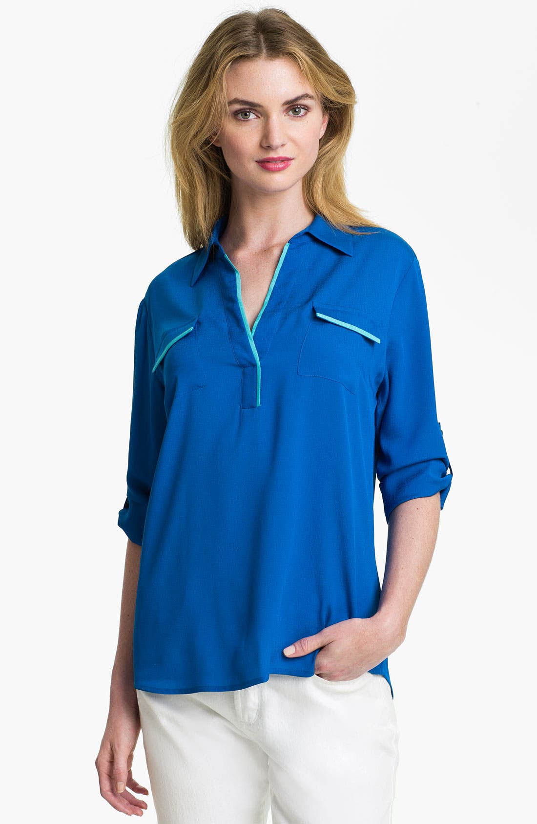 Alternate Image 1 Selected - Calvin Klein Roll Sleeve Blouse (Online Exclusive)