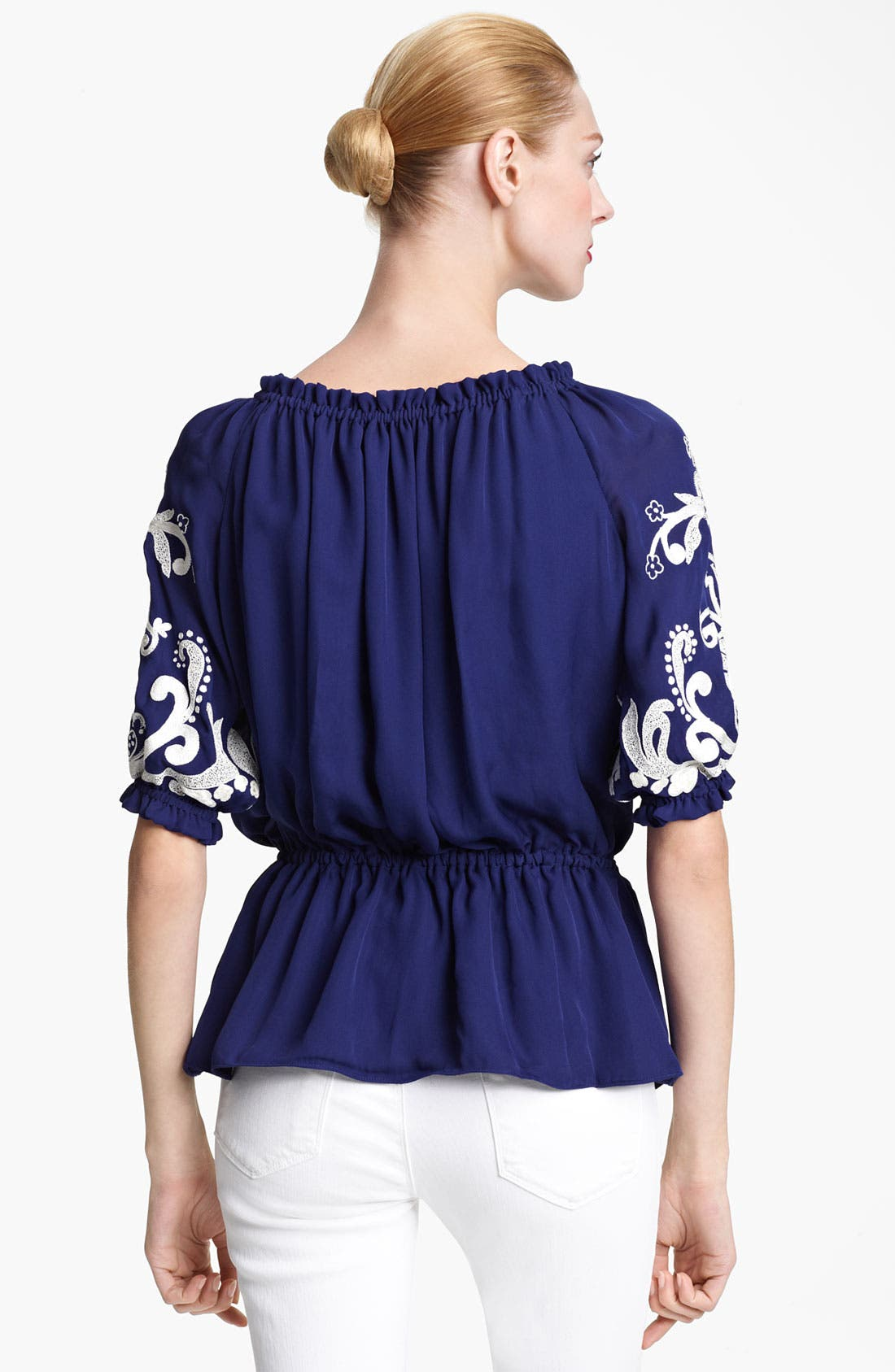 Alternate Image 2  - Naeem Khan Embroidered Peasant Blouse