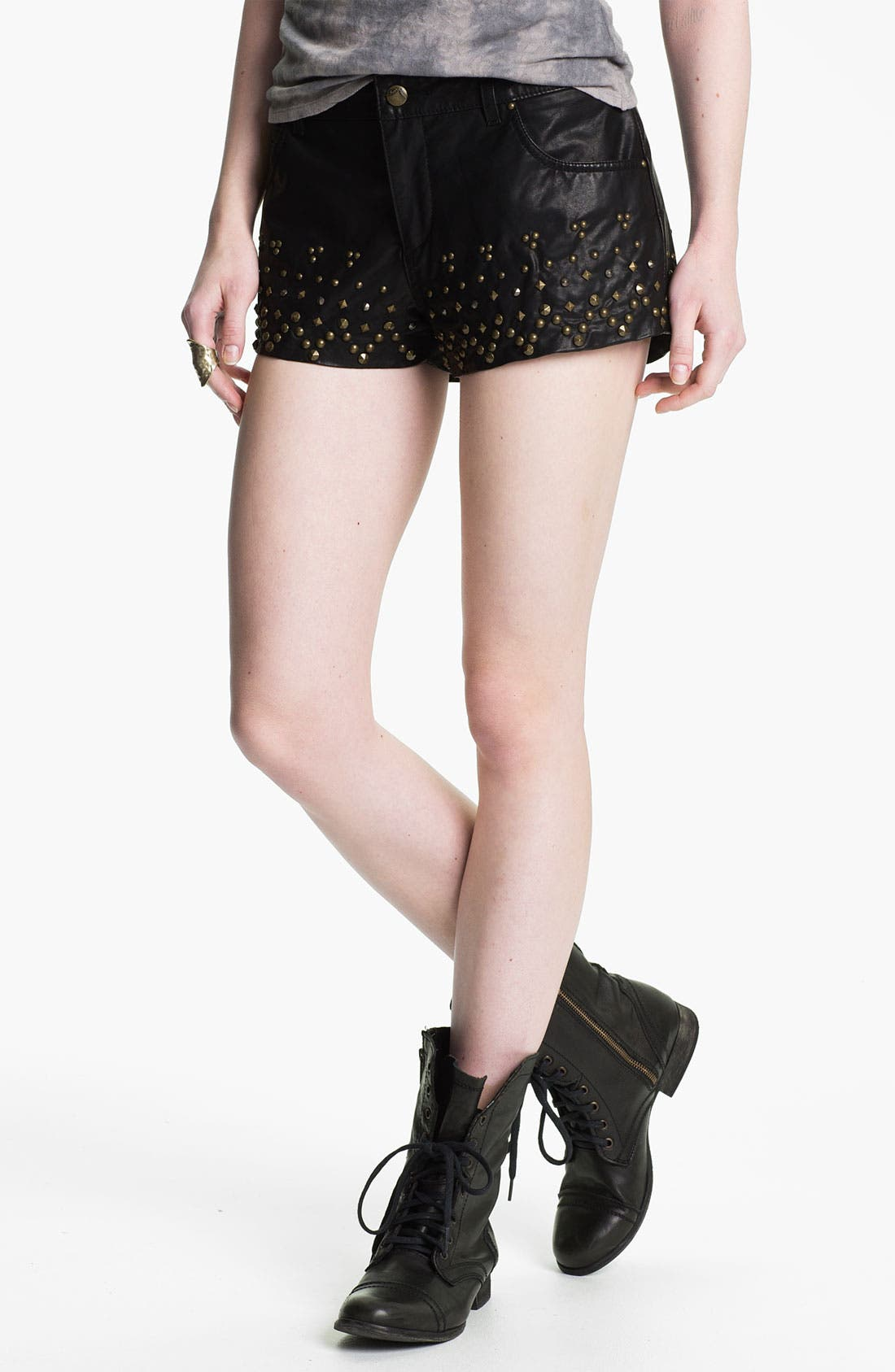 Alternate Image 1 Selected - Free People Studded Faux Leather Shorts