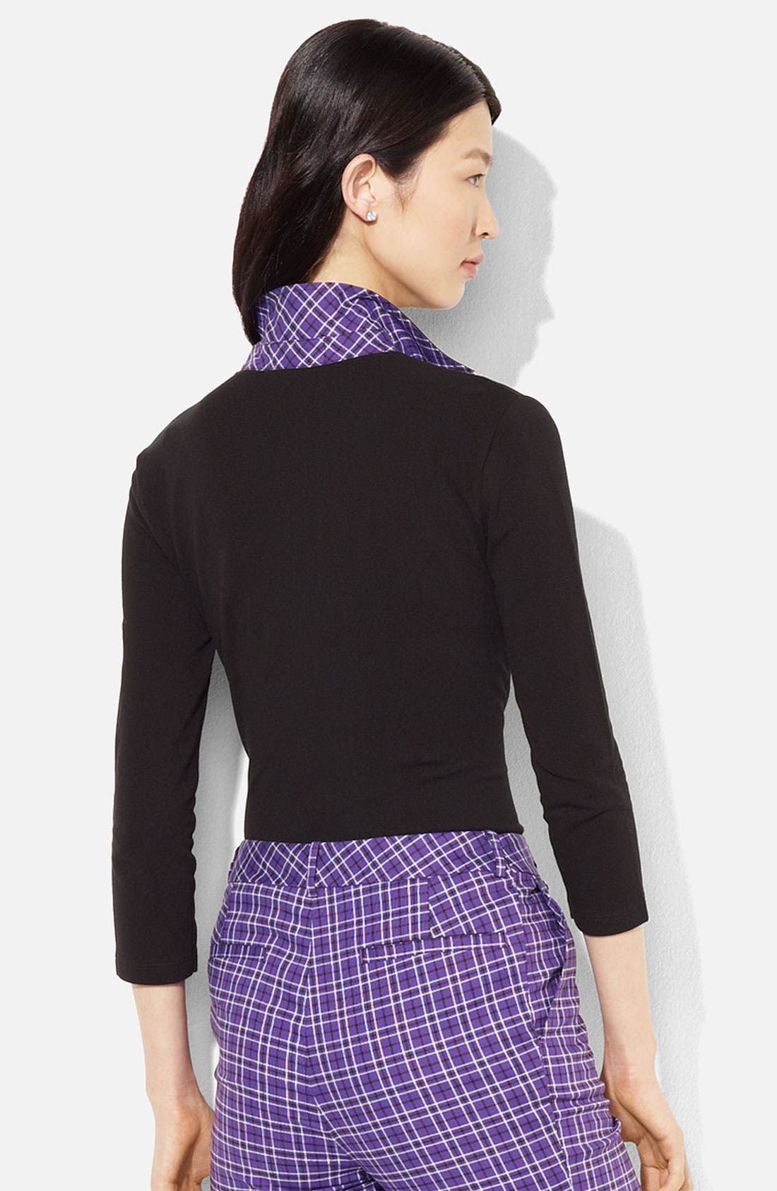 Alternate Image 2  - Lauren Ralph Lauren Plaid Trim Polo (Petite) (Online Exclusive)